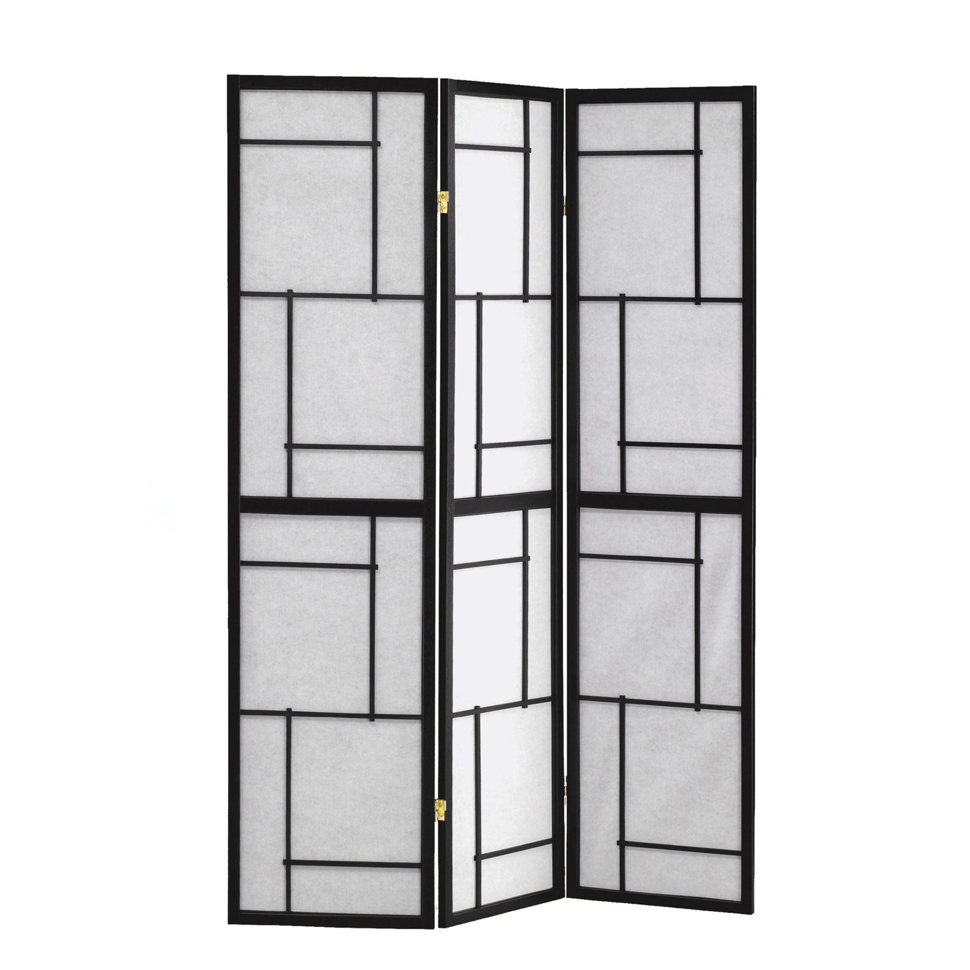 Monarch Specialties Black White 3 Panel Folding Screen