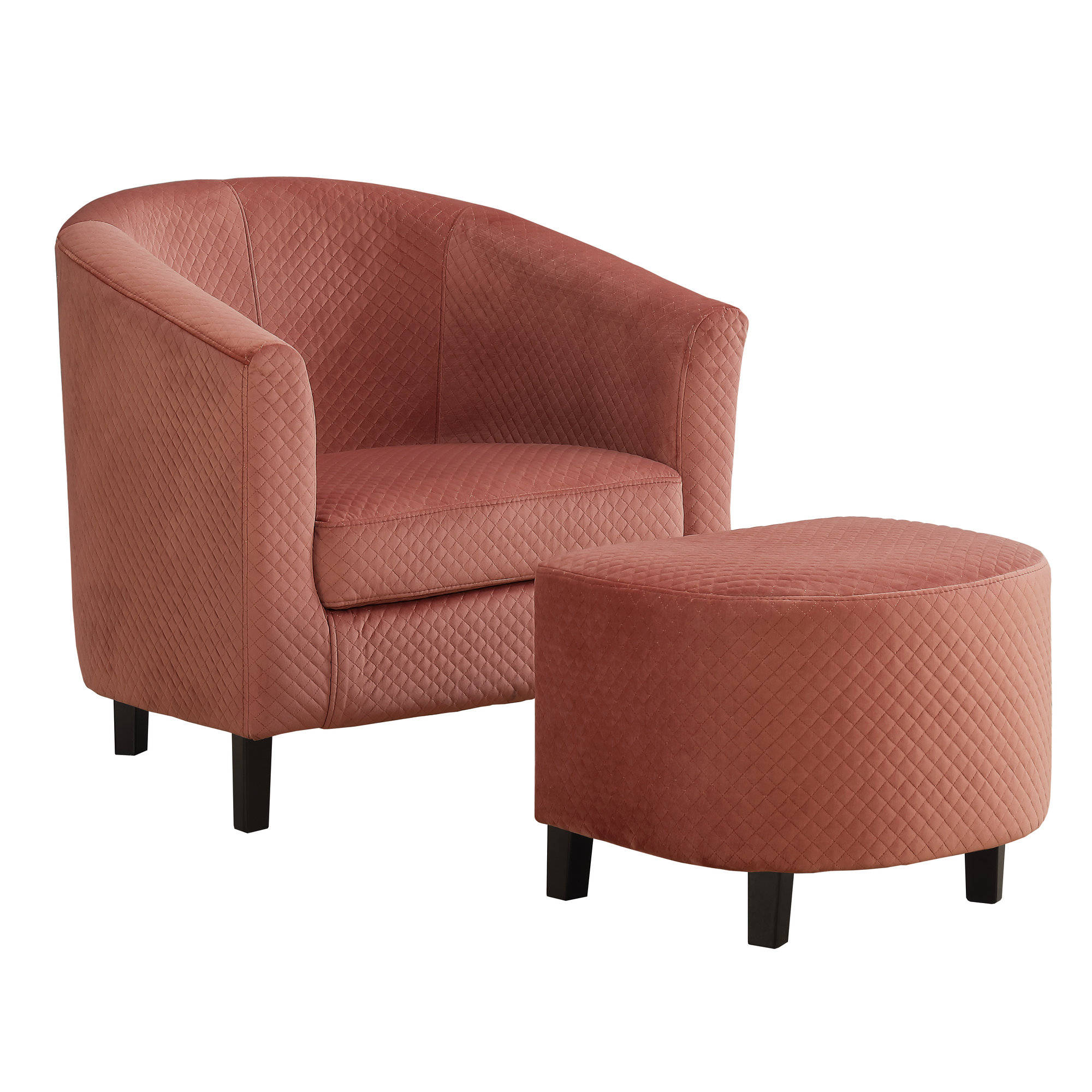 Monarch Specialties Dusty Rose Fabric Accent Chair And Ottoman Set