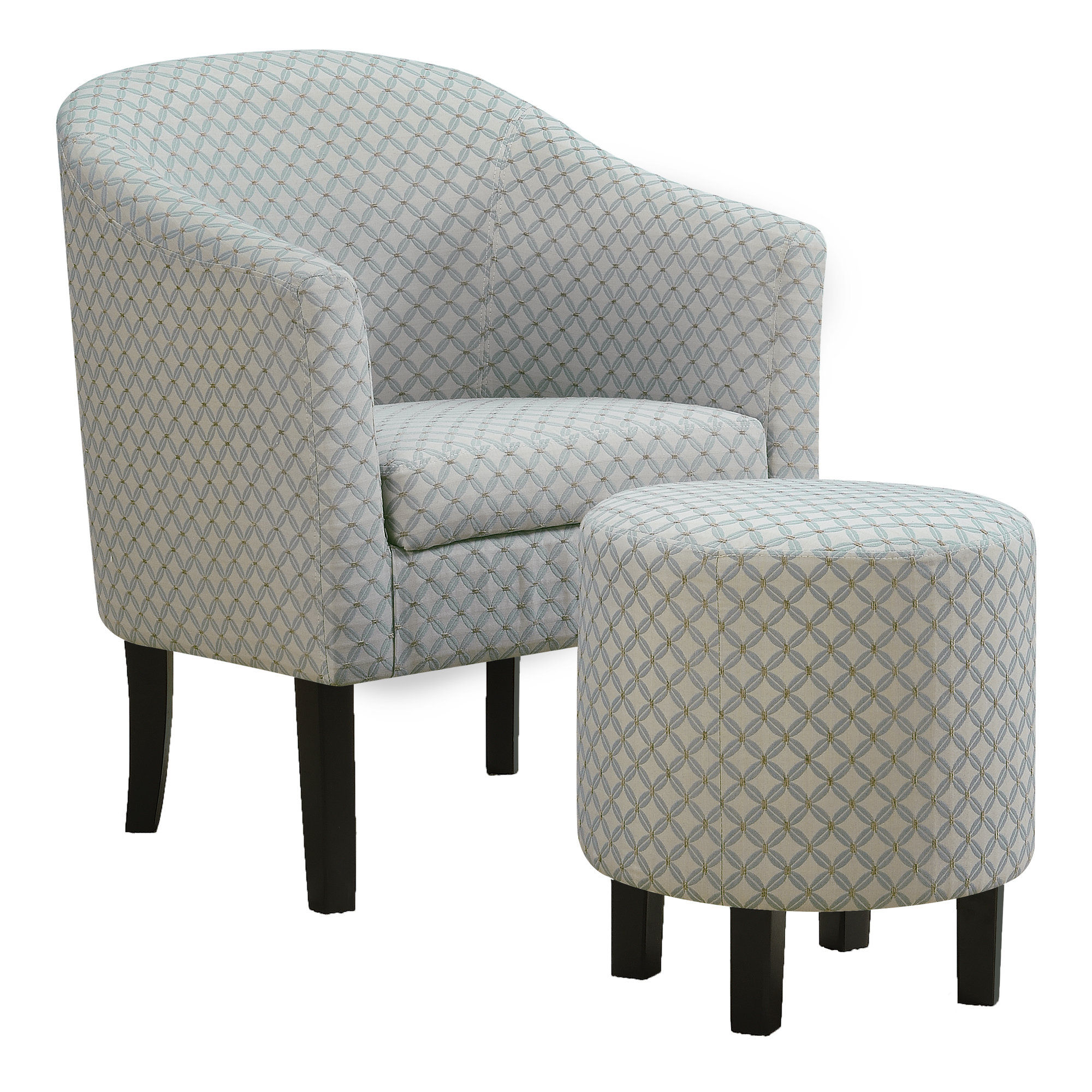 Monarch Specialties Blue 2pc Chair Ottoman Set Click To Enlarge ...