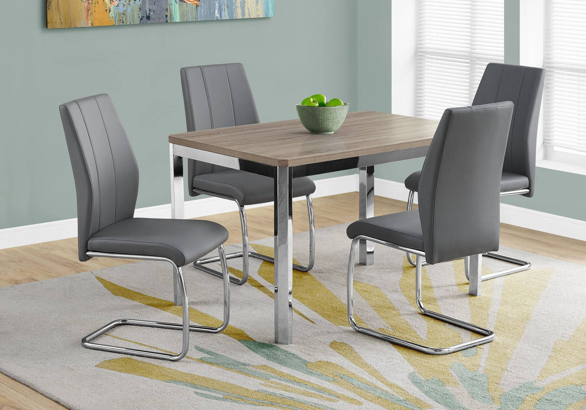 Monarch Specialties Taupe Grey Leather Rectangle 5pc Dining Room Set