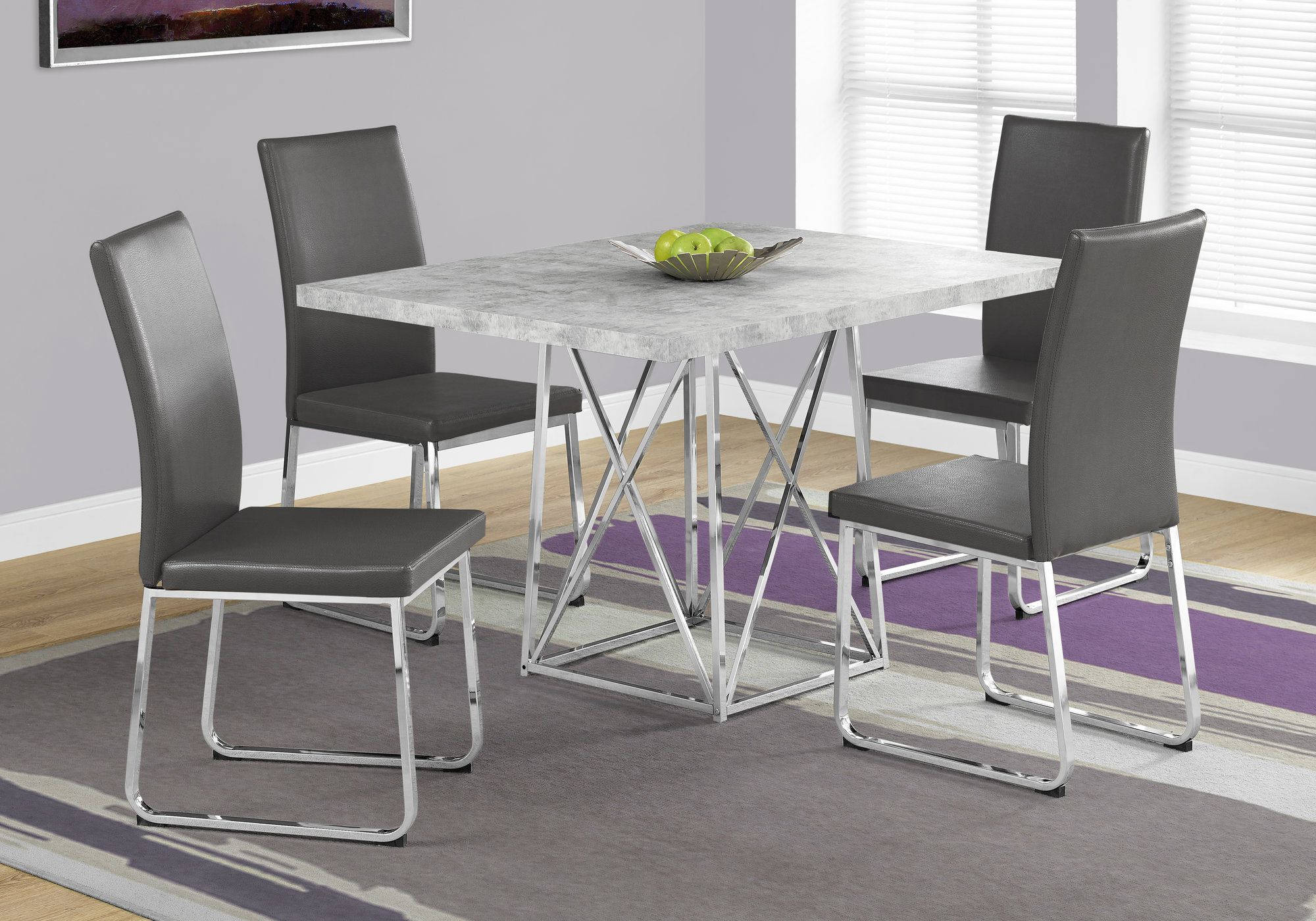 Monarch Specialties Grey Cement Rectangle 5pc Dining Room Set The