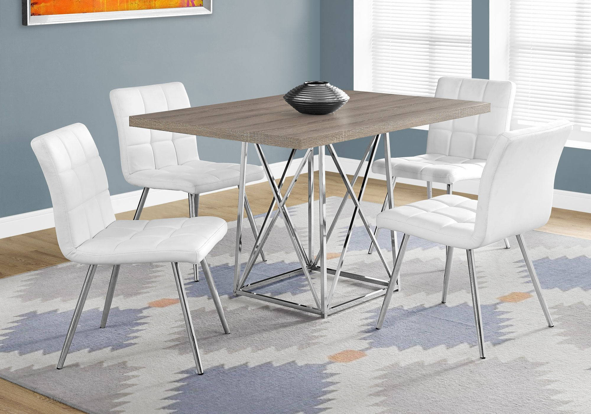 Monarch Specialties Taupe Wood White Leather 5pc Dining Room Set