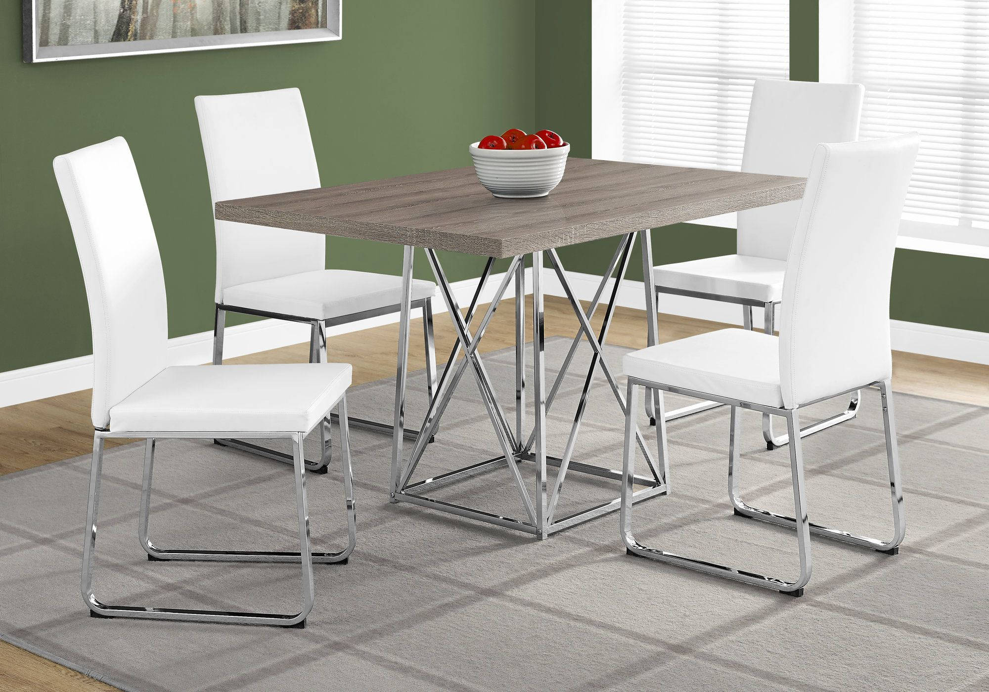 Monarch Specialties Taupe White Rectangle 5pc Dining Room Set