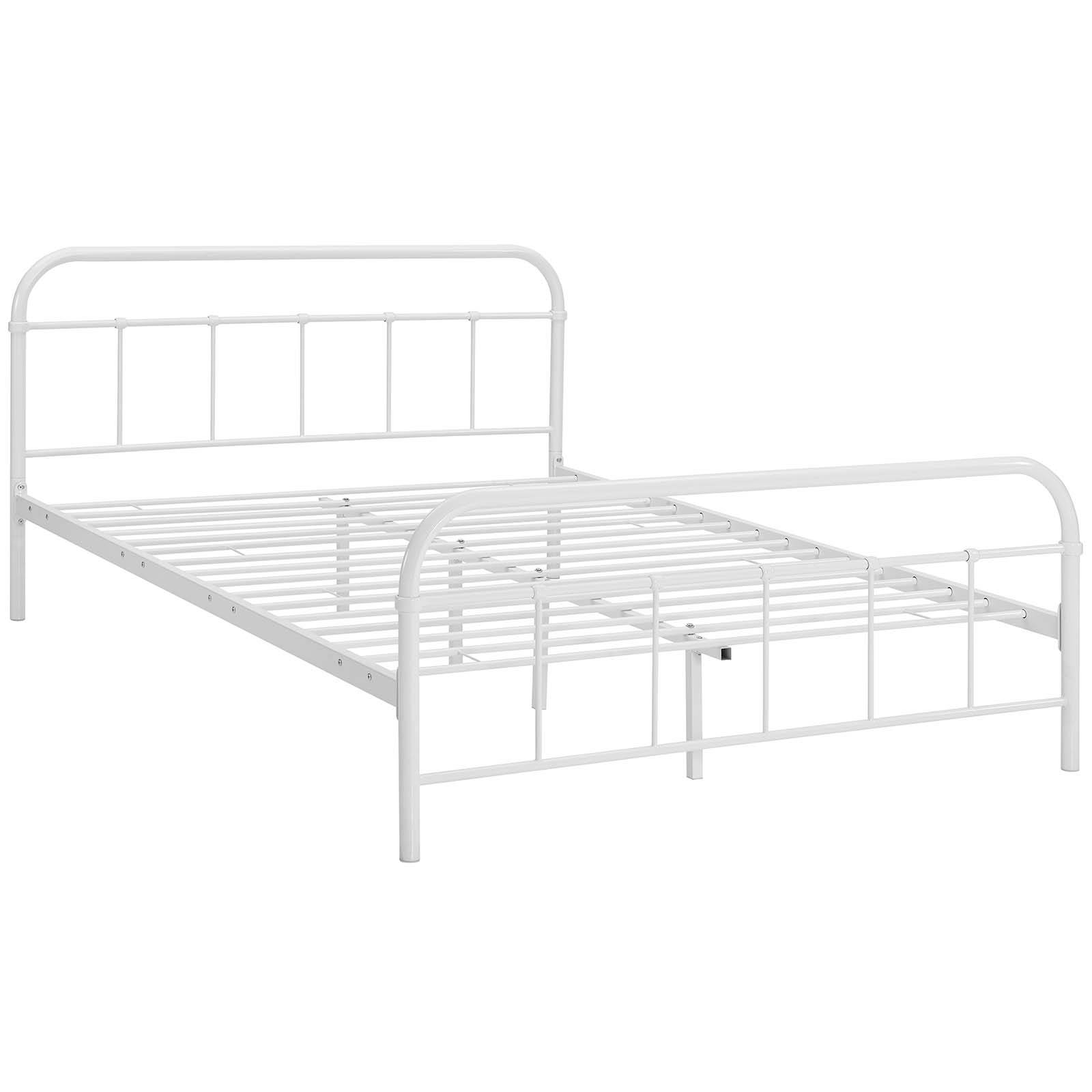 b98222ae4db0 Modway Furniture Maisie White Queen Stainless Steel Bed Frame | The ...