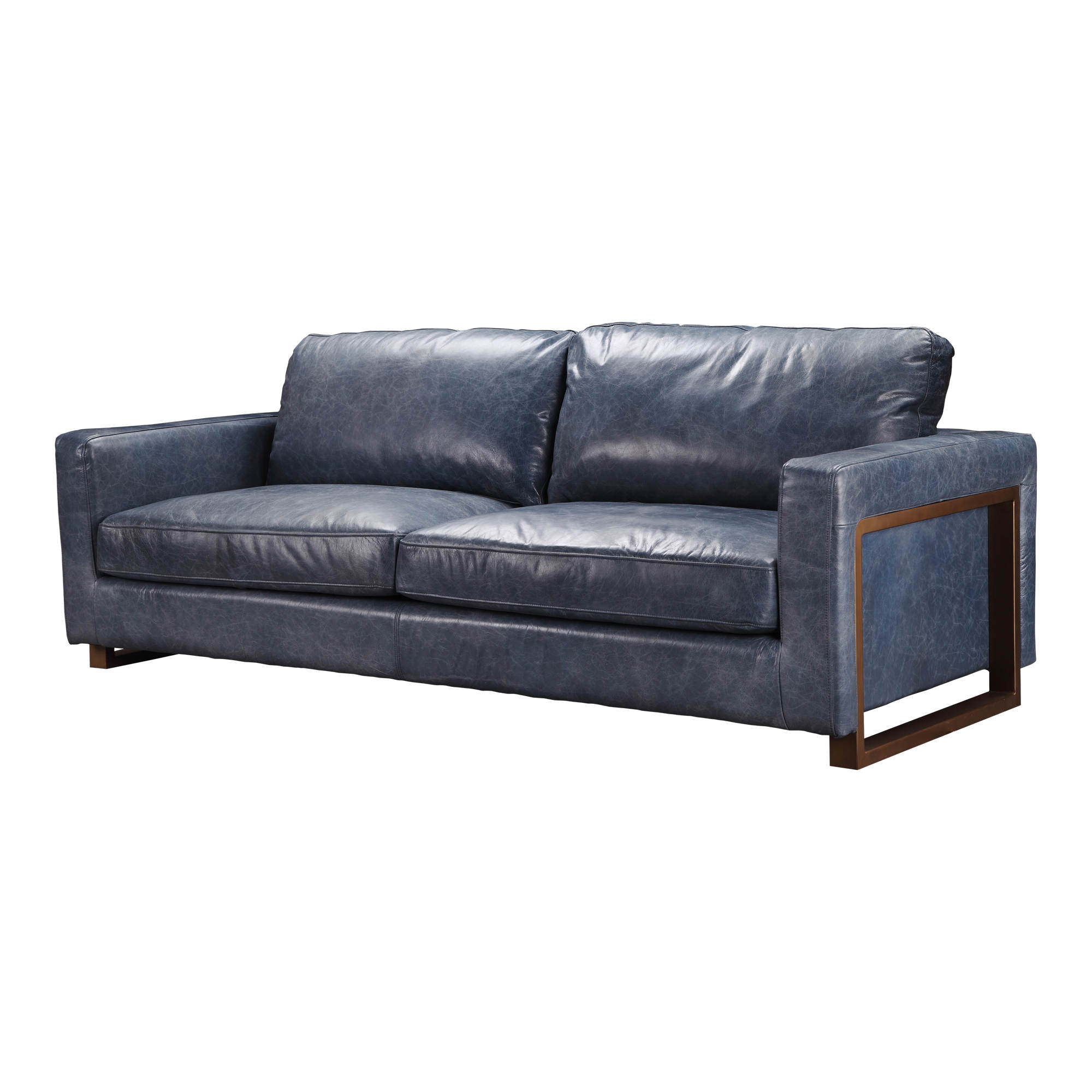 Nikoly Navy Blue Grain Leather Sofa
