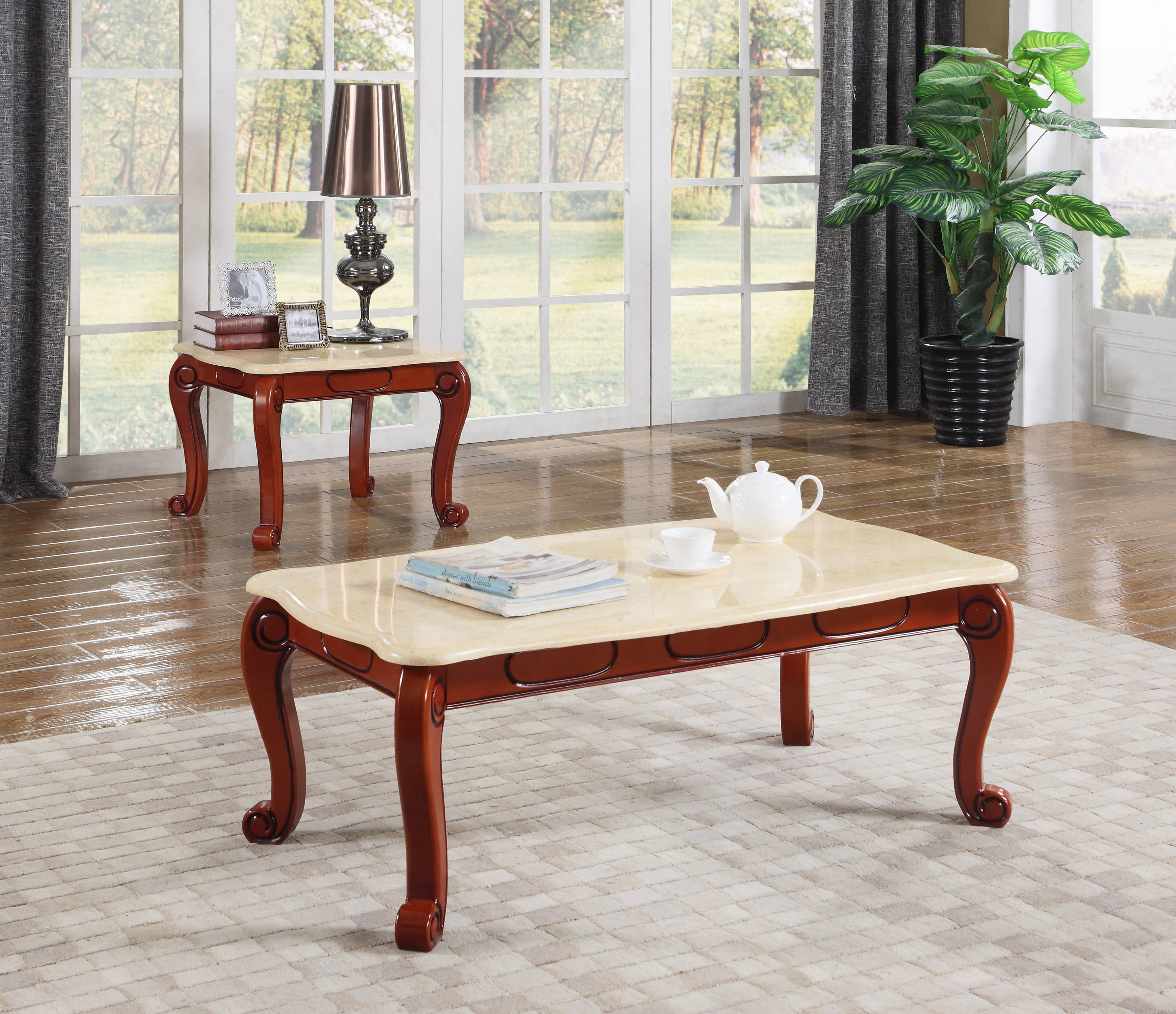 Cherry Marble Top Coffee Tables: Meridian Furniture Bella Beige 3pc Coffee Table Set