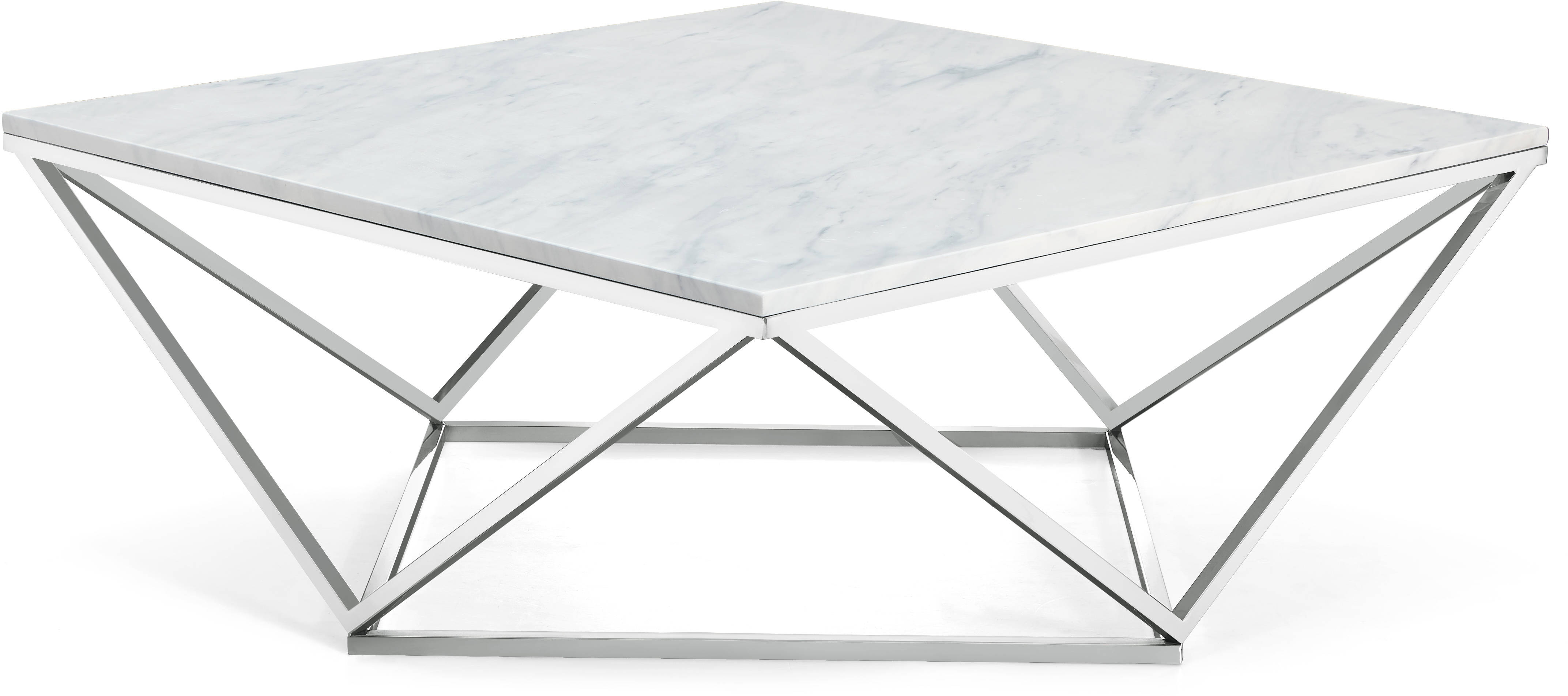 Skyler Marble Top Silver Chrome Stainless Steel Base Coffee Table