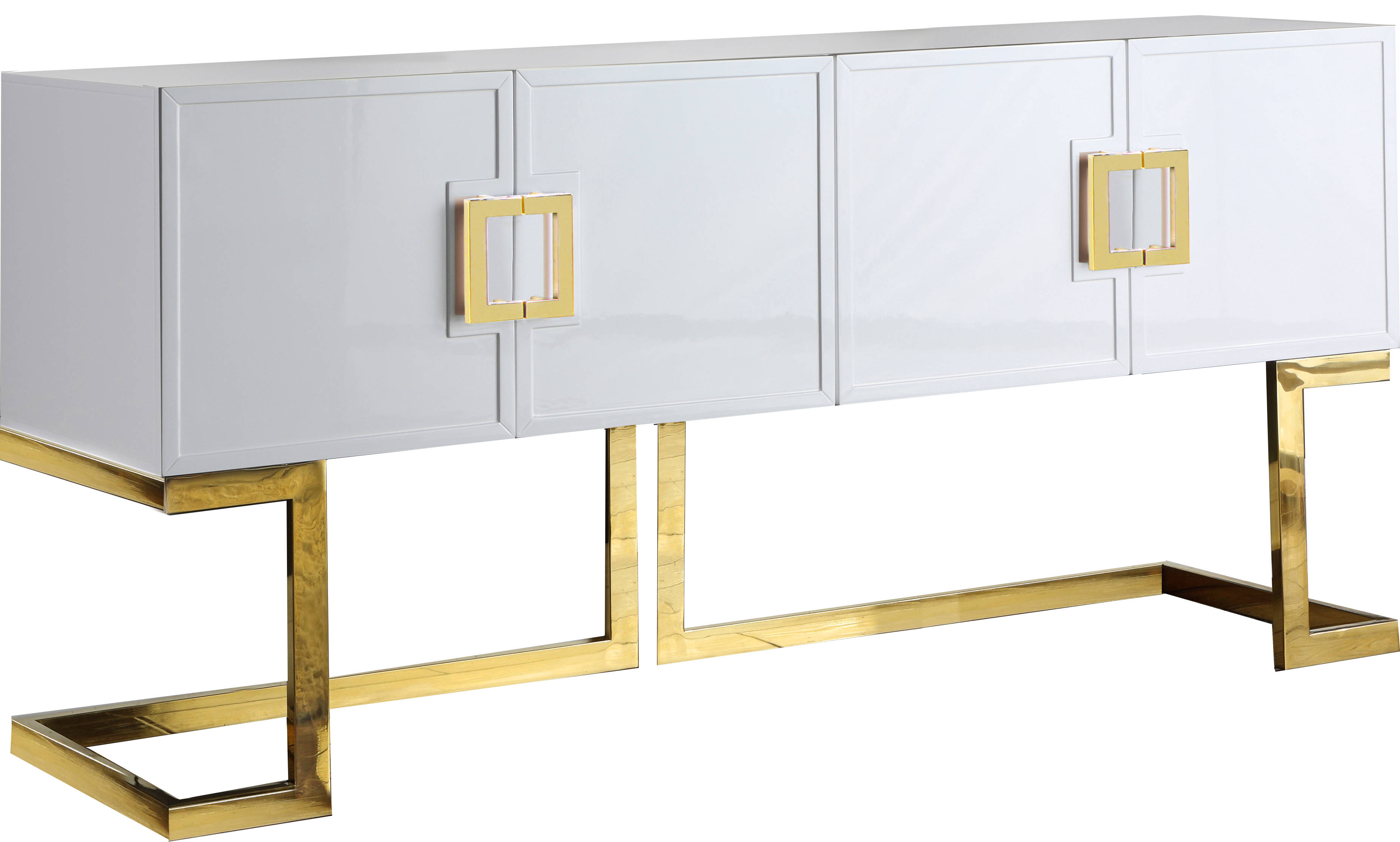 Meridian Furniture Beth White Gold Base Sideboard Buffet The