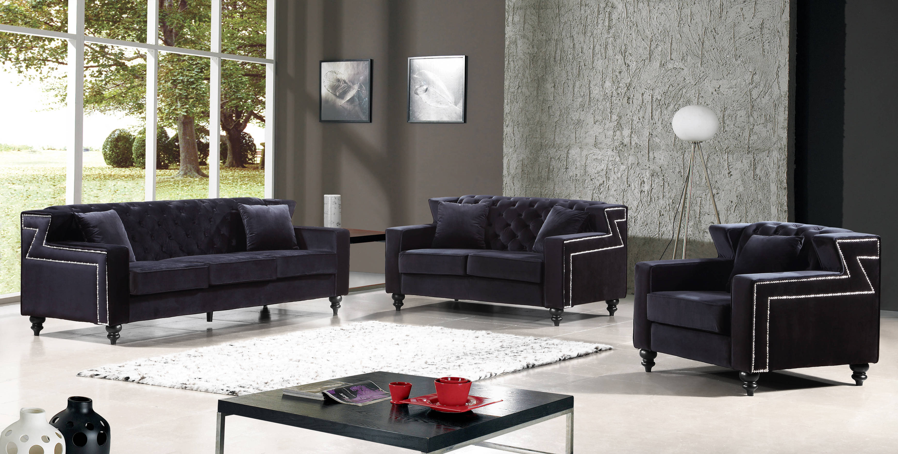 Harley black velvet tufted back silver nailheads living for Living room set deals
