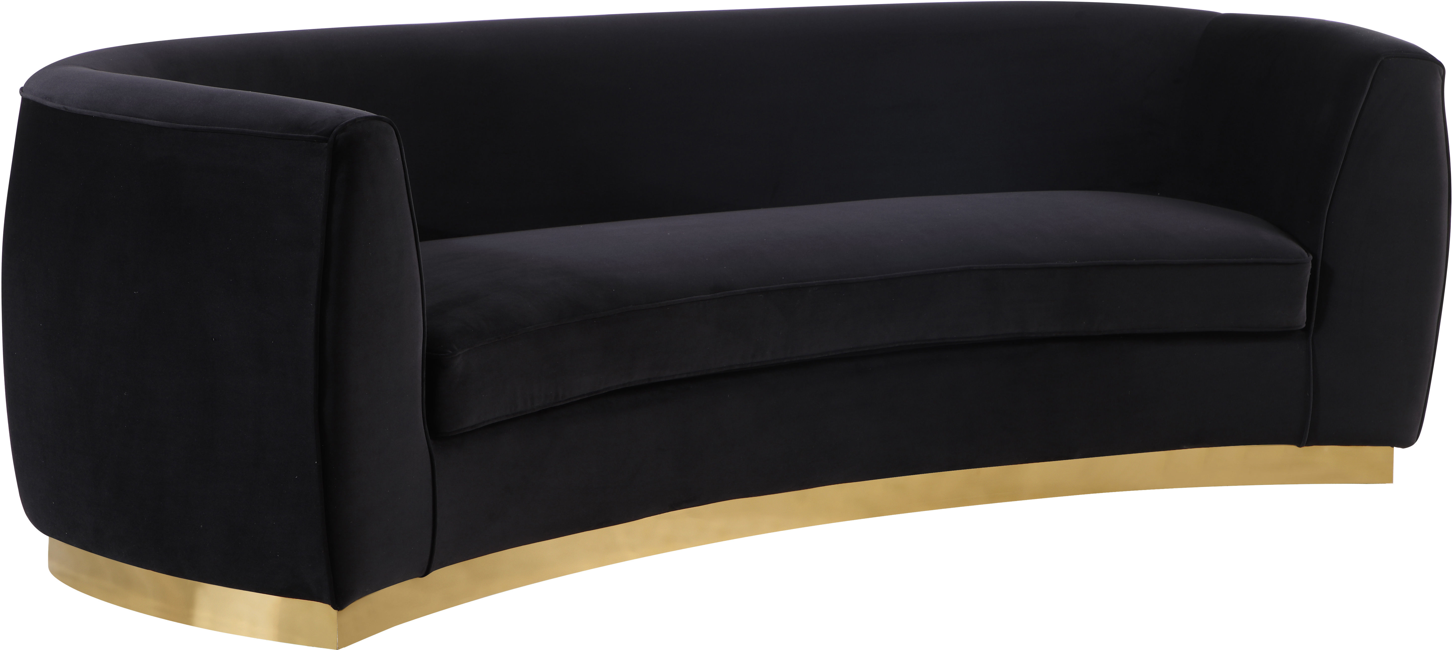 Astounding Meridian Furniture Julian Black Velvet Gold Base Sofa Pabps2019 Chair Design Images Pabps2019Com