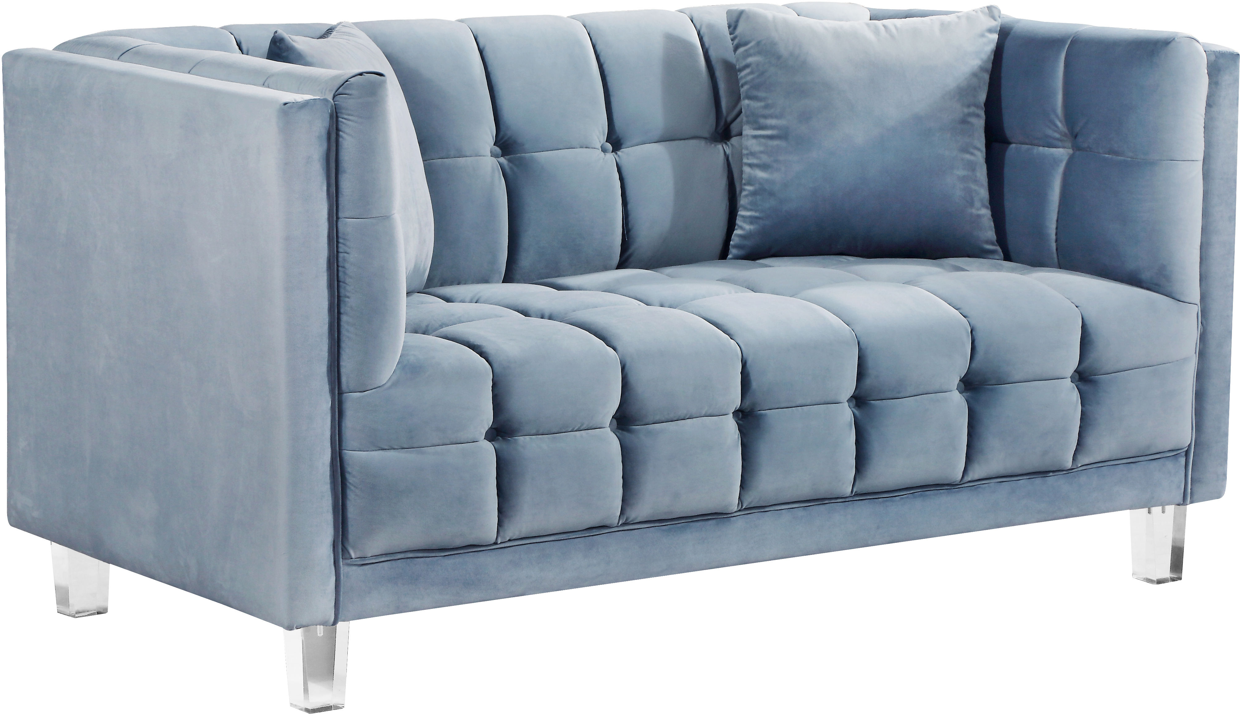 Incredible Meridian Furniture Mariel Sky Blue Velvet Loveseat Squirreltailoven Fun Painted Chair Ideas Images Squirreltailovenorg