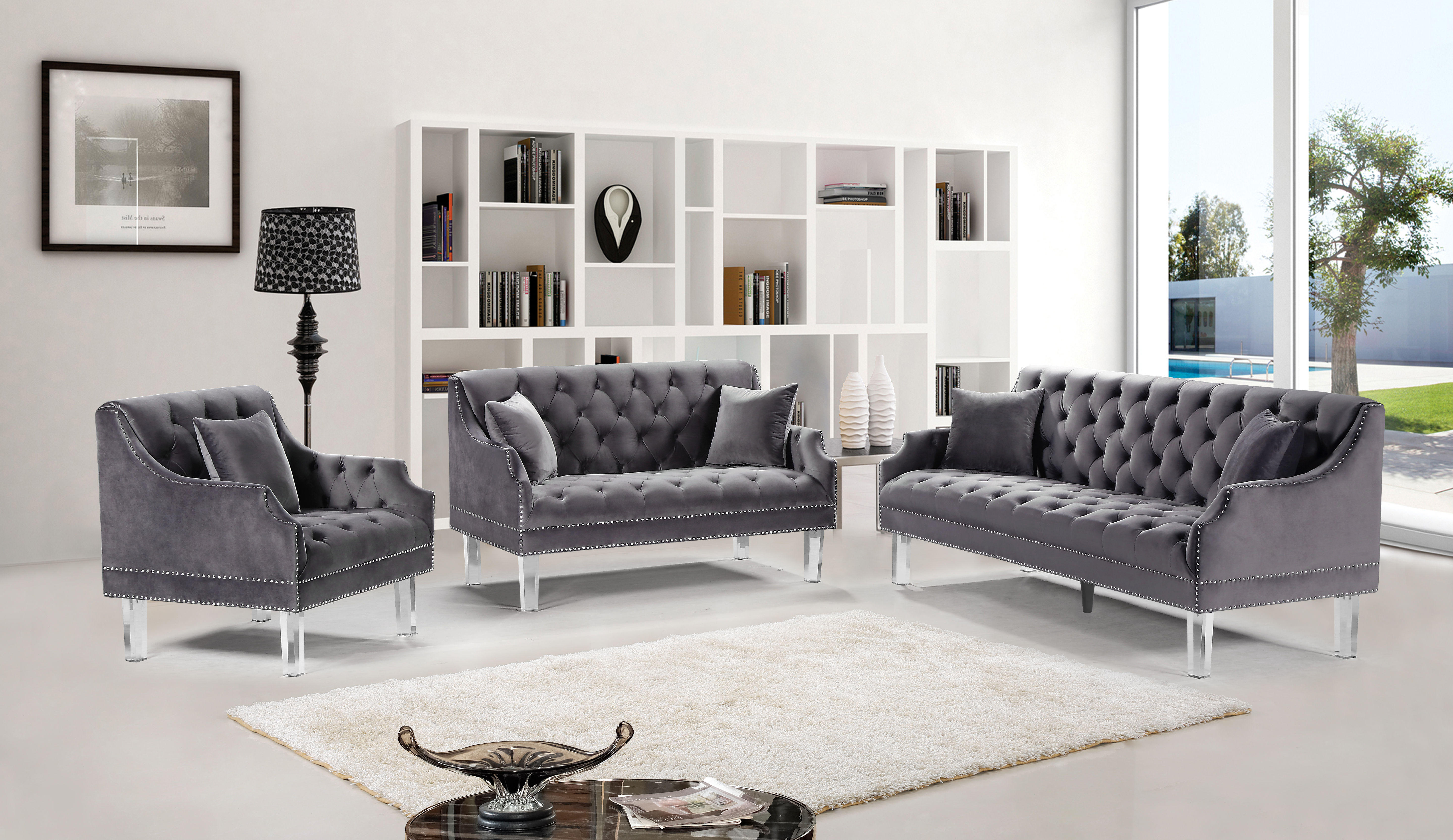 Roxy Grey Velvet 3pc Living Room Set