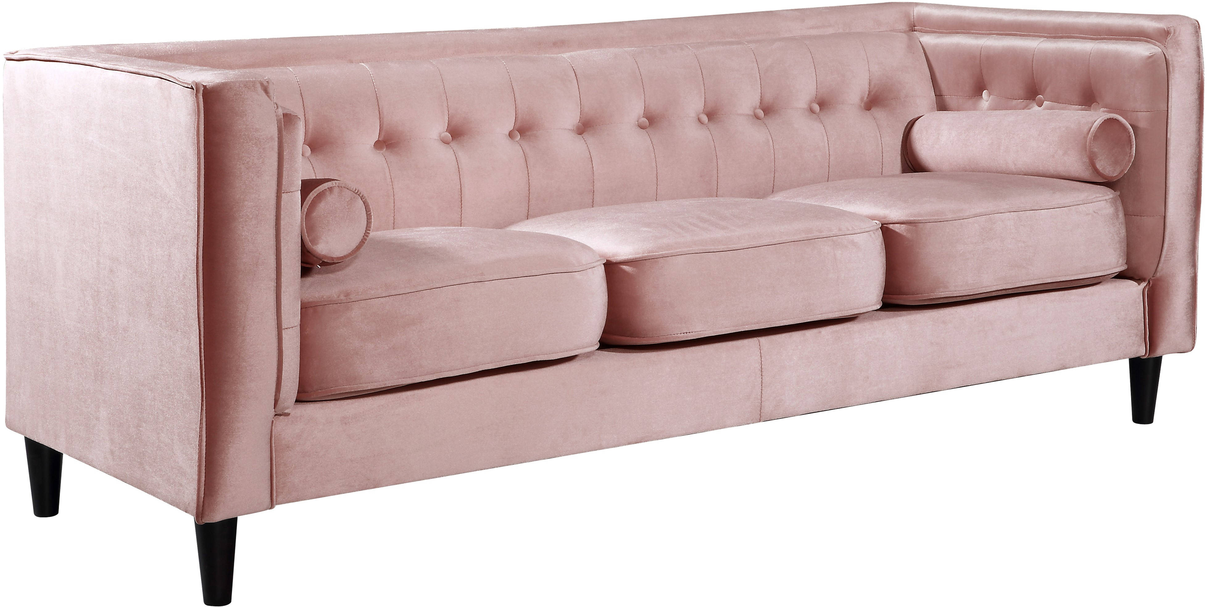 Meridian Furniture Taylor Pink Velvet Sofa The Classy Home