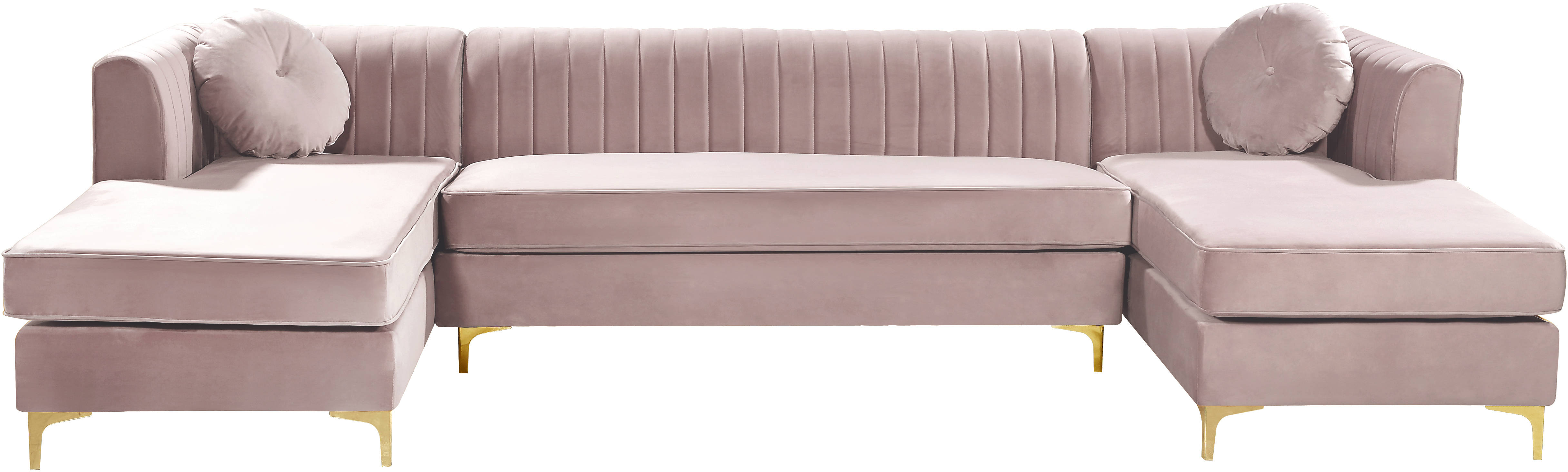 meridian furniture graham pink velvet 3pc sectional the classy home rh theclassyhome com pink sectional sofa covers light pink sectional sofa