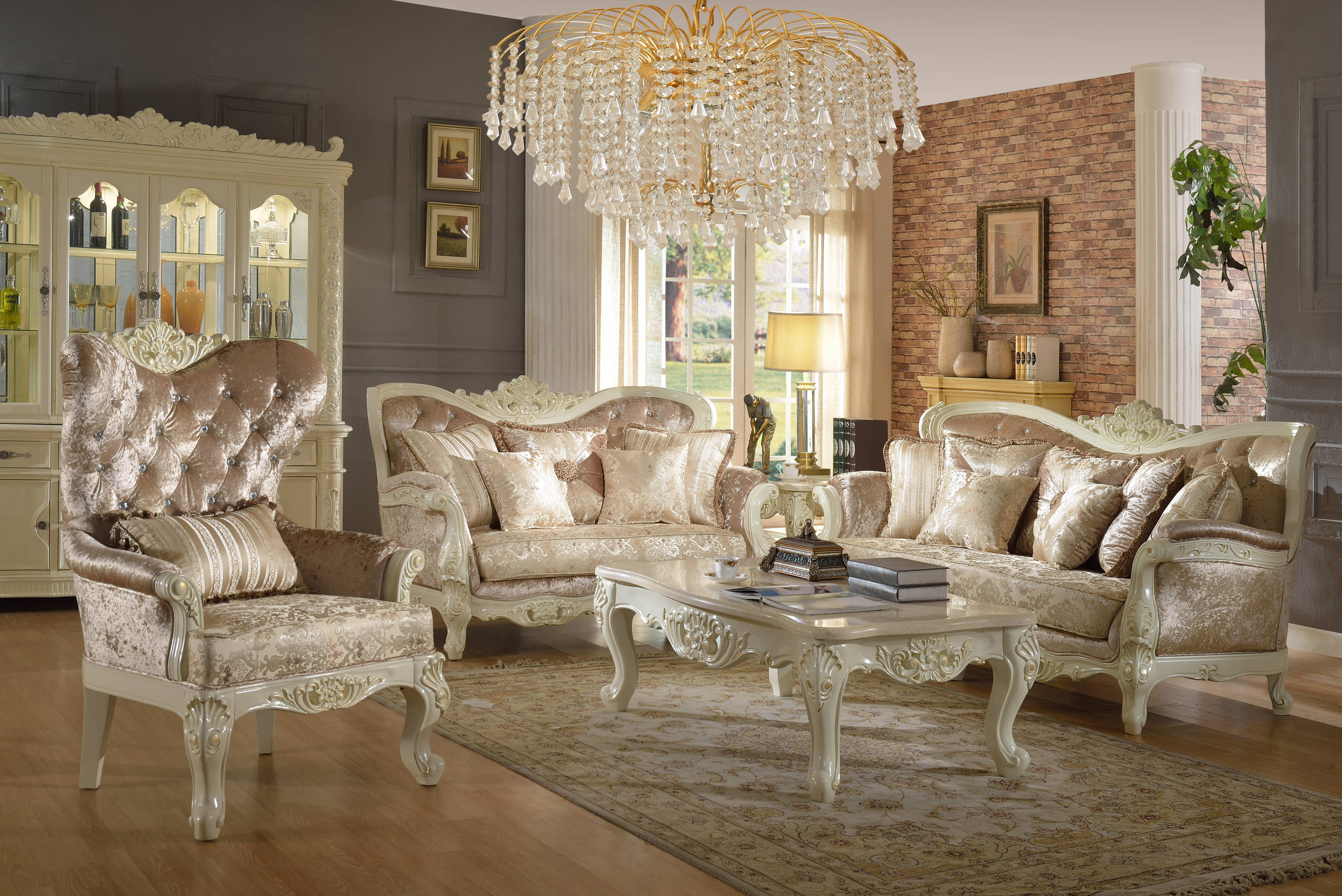 grace pearl white fabric french provincial living room set