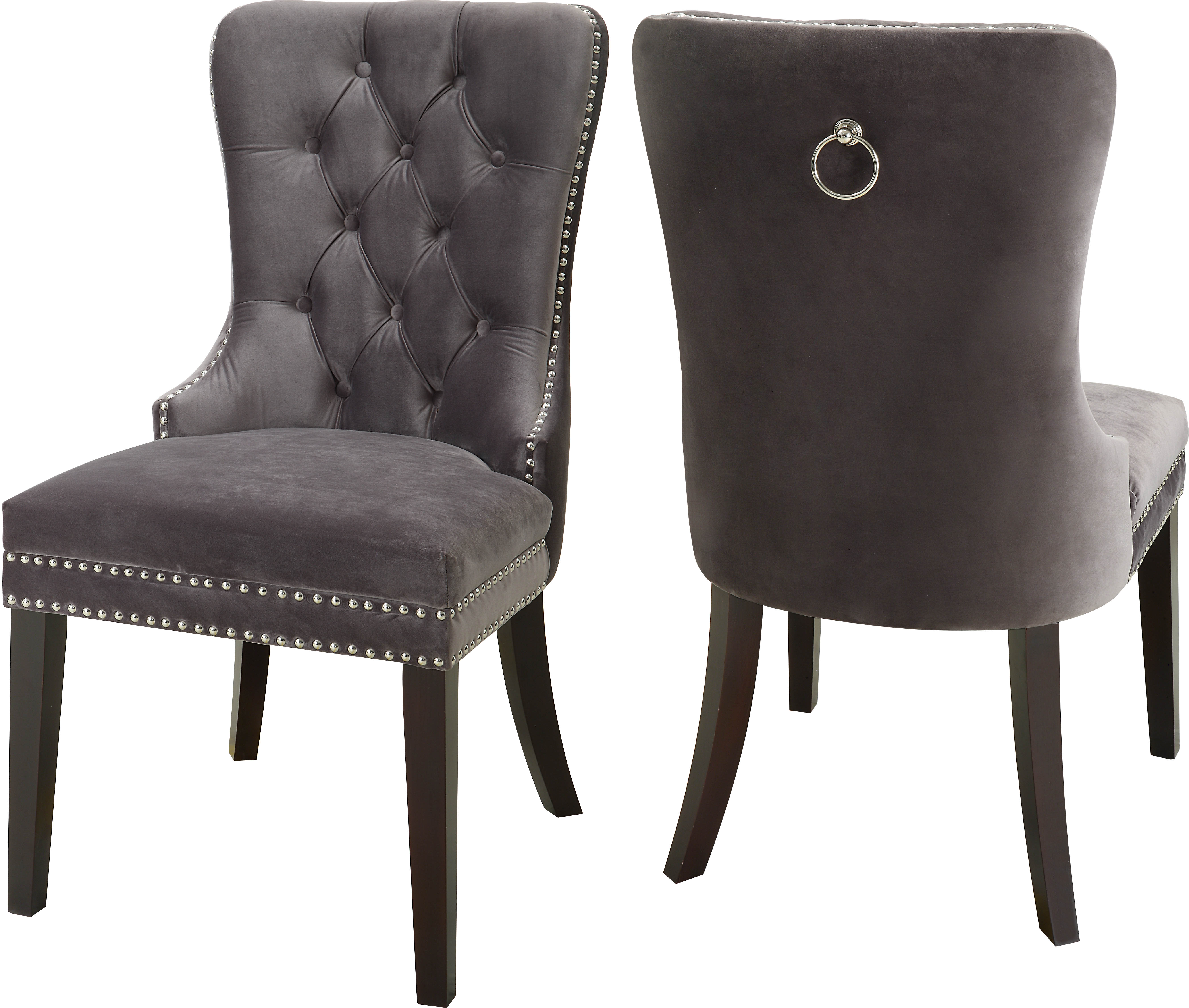 Grey Dining Room Chairs: 2 Meridian Furniture Nikki Grey Velvet Dining Chairs