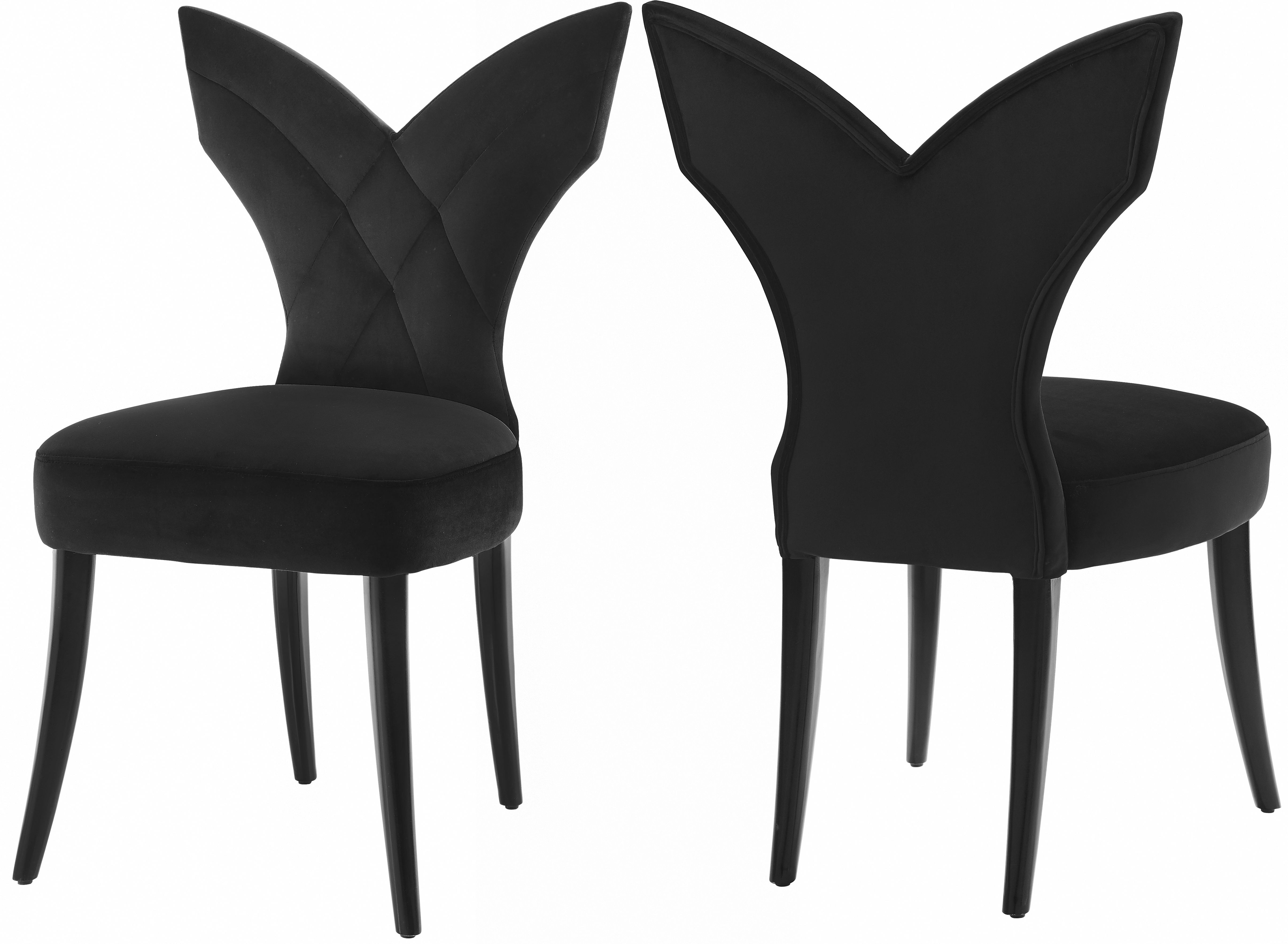 2 Meridian Furniture Leandra Black Velvet Dining Chairs The Classy