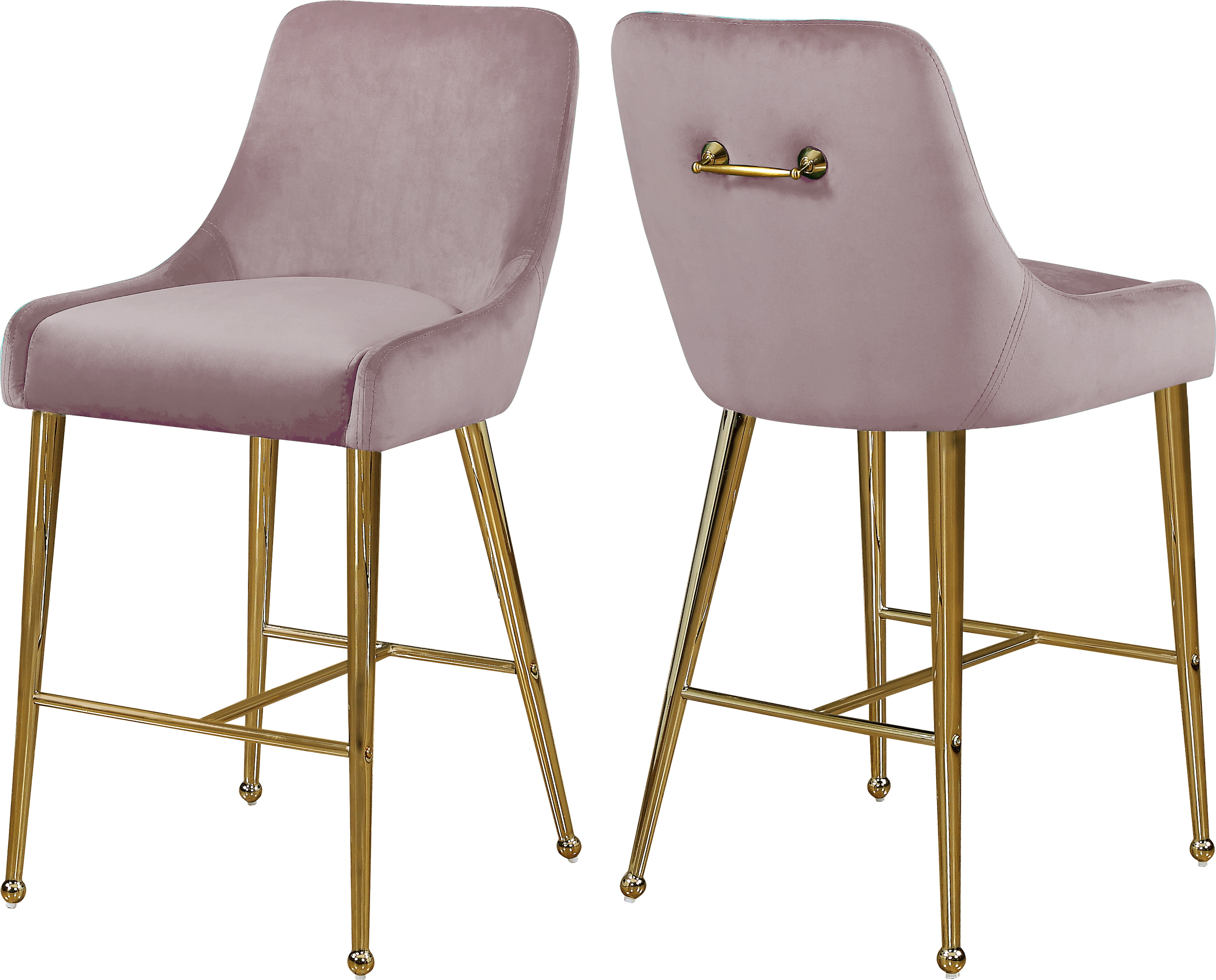 2 Meridian Furniture Owen Pink Velvet Stools The Classy Home