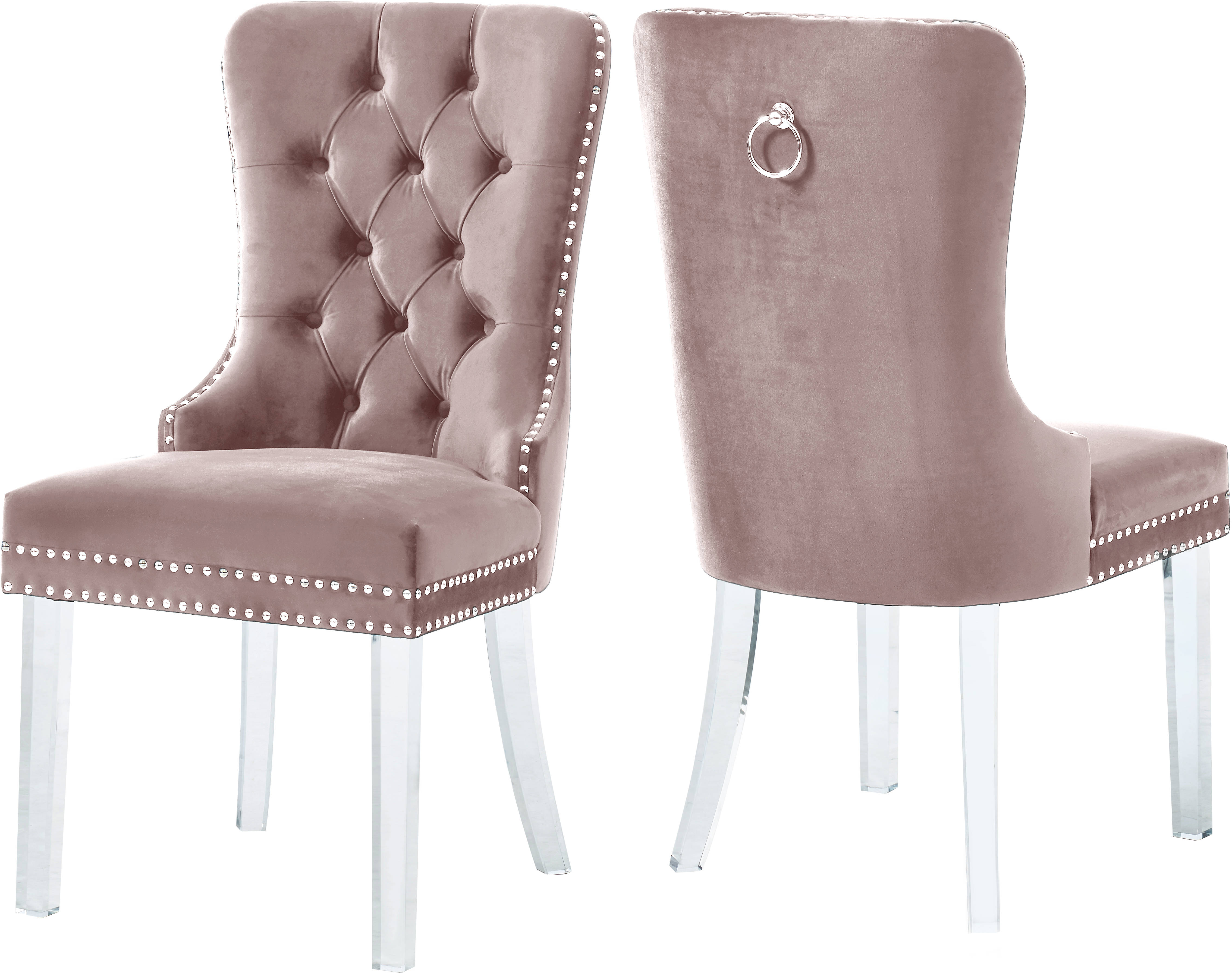 2a9677ccdbc6a 2 Meridian Furniture Miley Pink Velvet Dining Chairs