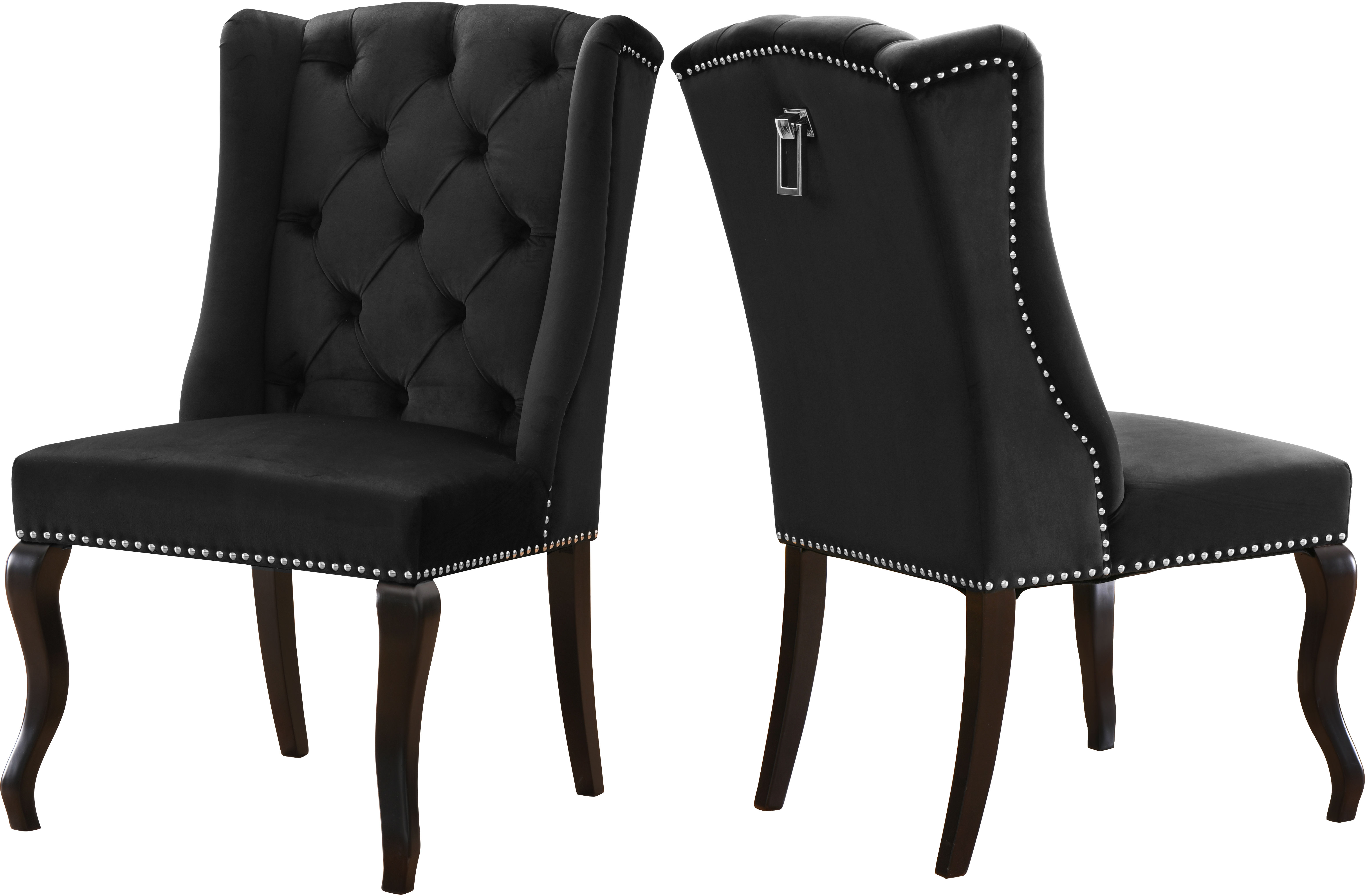 2 Meridian Furniture Suri Black Velvet Dining Chairs The Classy Home