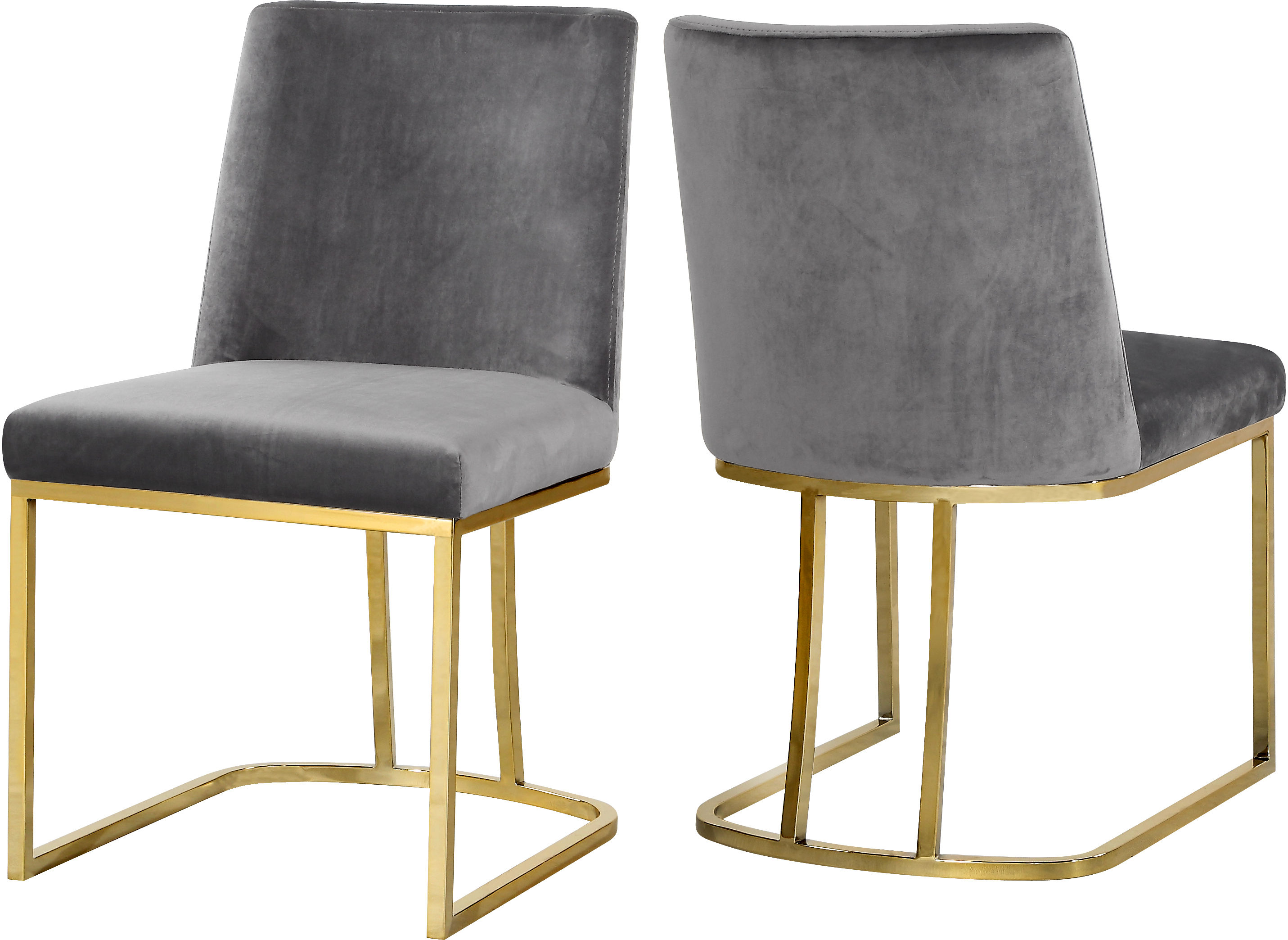 Stupendous 2 Meridian Furniture Heidi Grey Velvet Gold Base Dining Chairs Machost Co Dining Chair Design Ideas Machostcouk