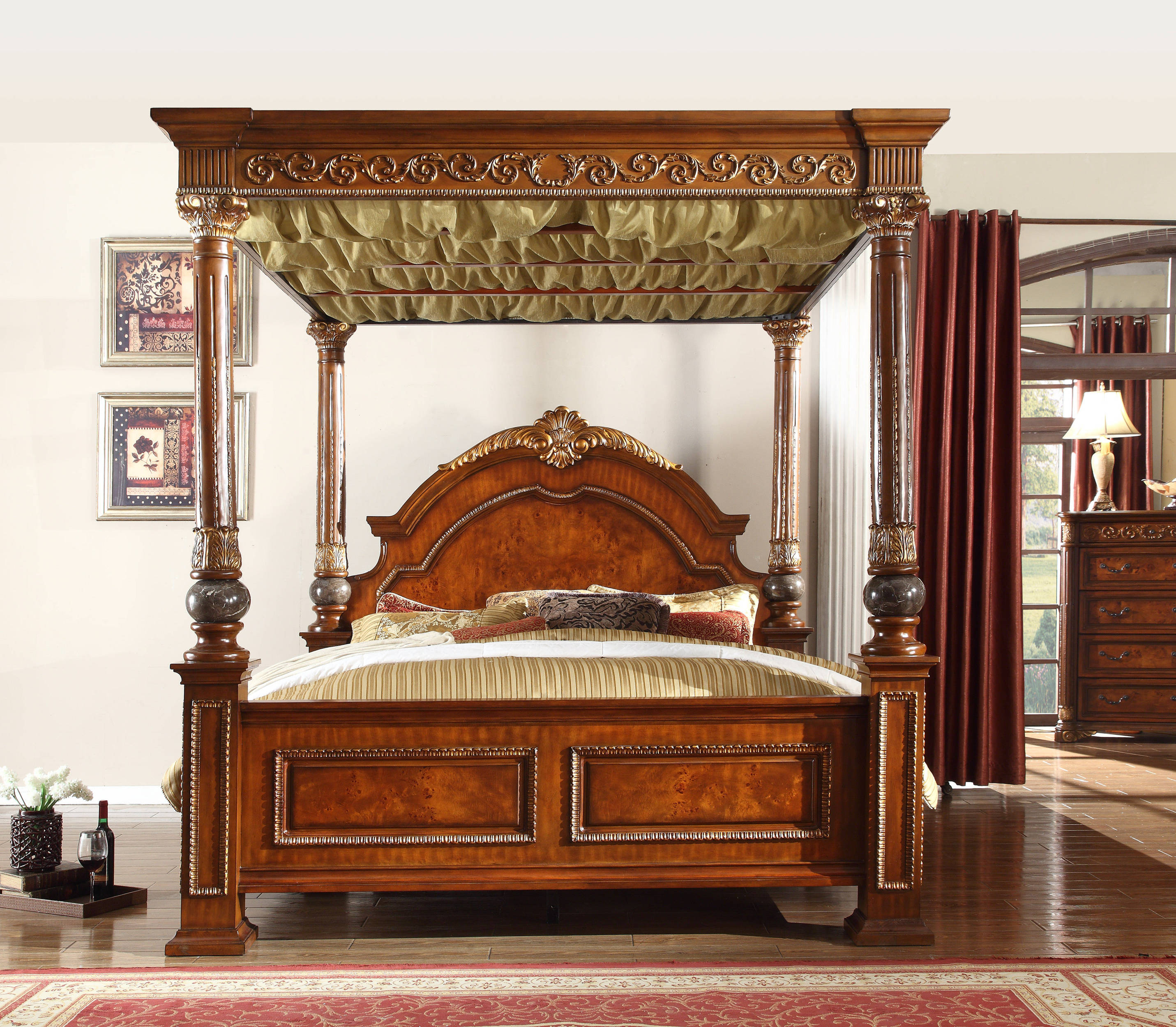 Meridian Furniture Royal Cherry King Bed The Classy Home