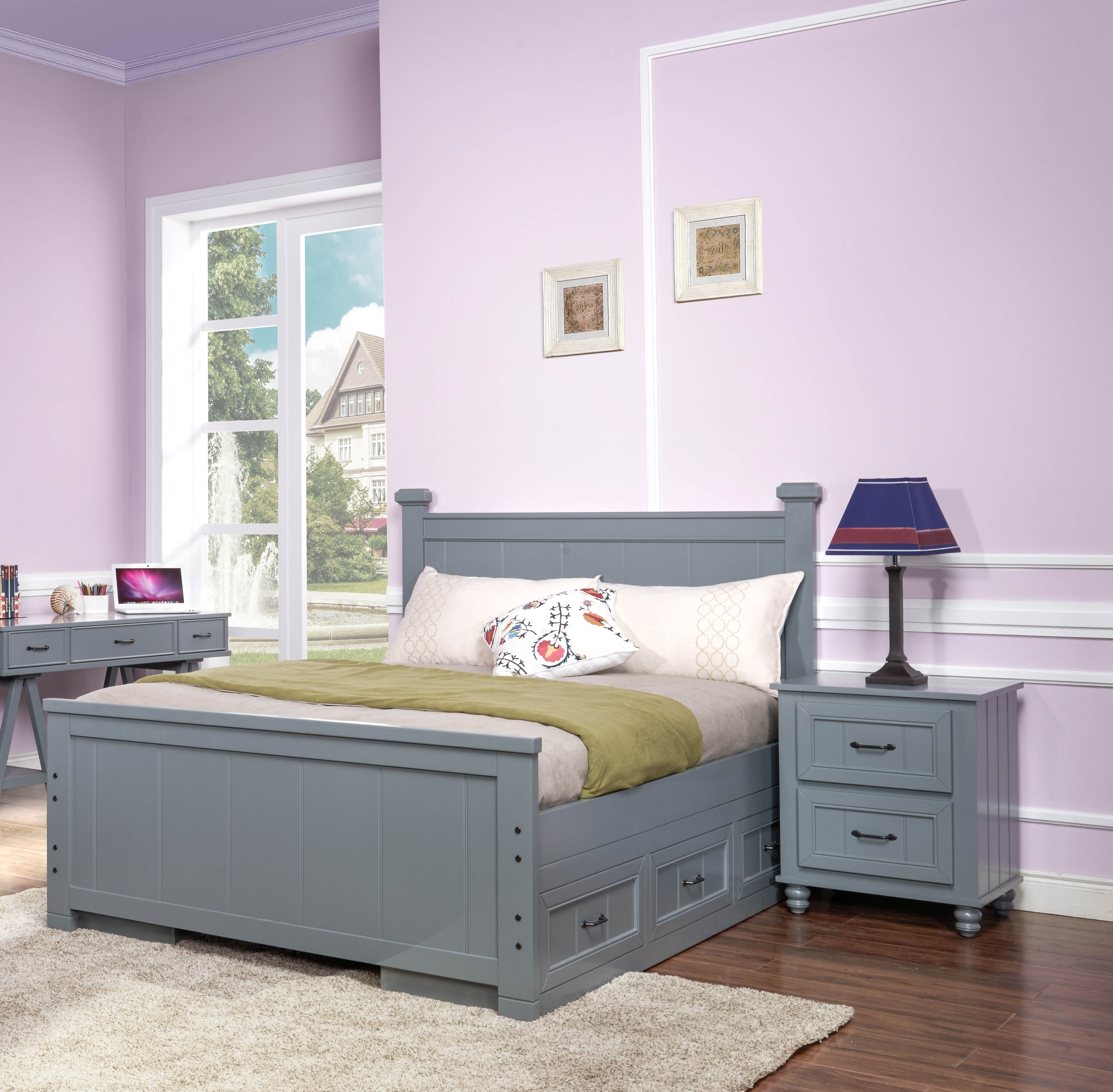 New Classic Furniture Taylor Youth Gray 2pc Bedroom Set with Full Storage  Bed