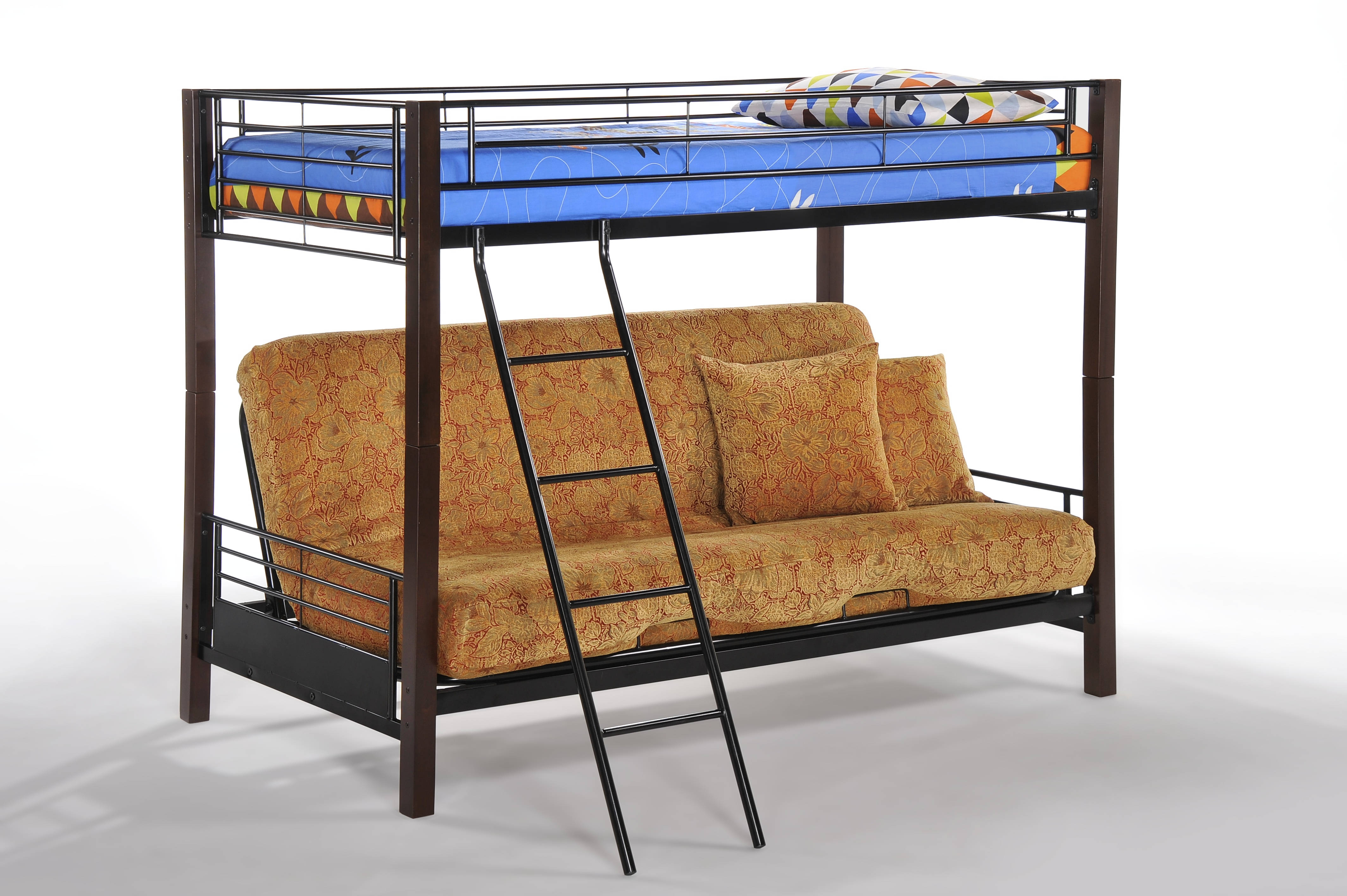 Night And Day Furniture Dandelion Chocolate Twin Over Futon Bunk Bed