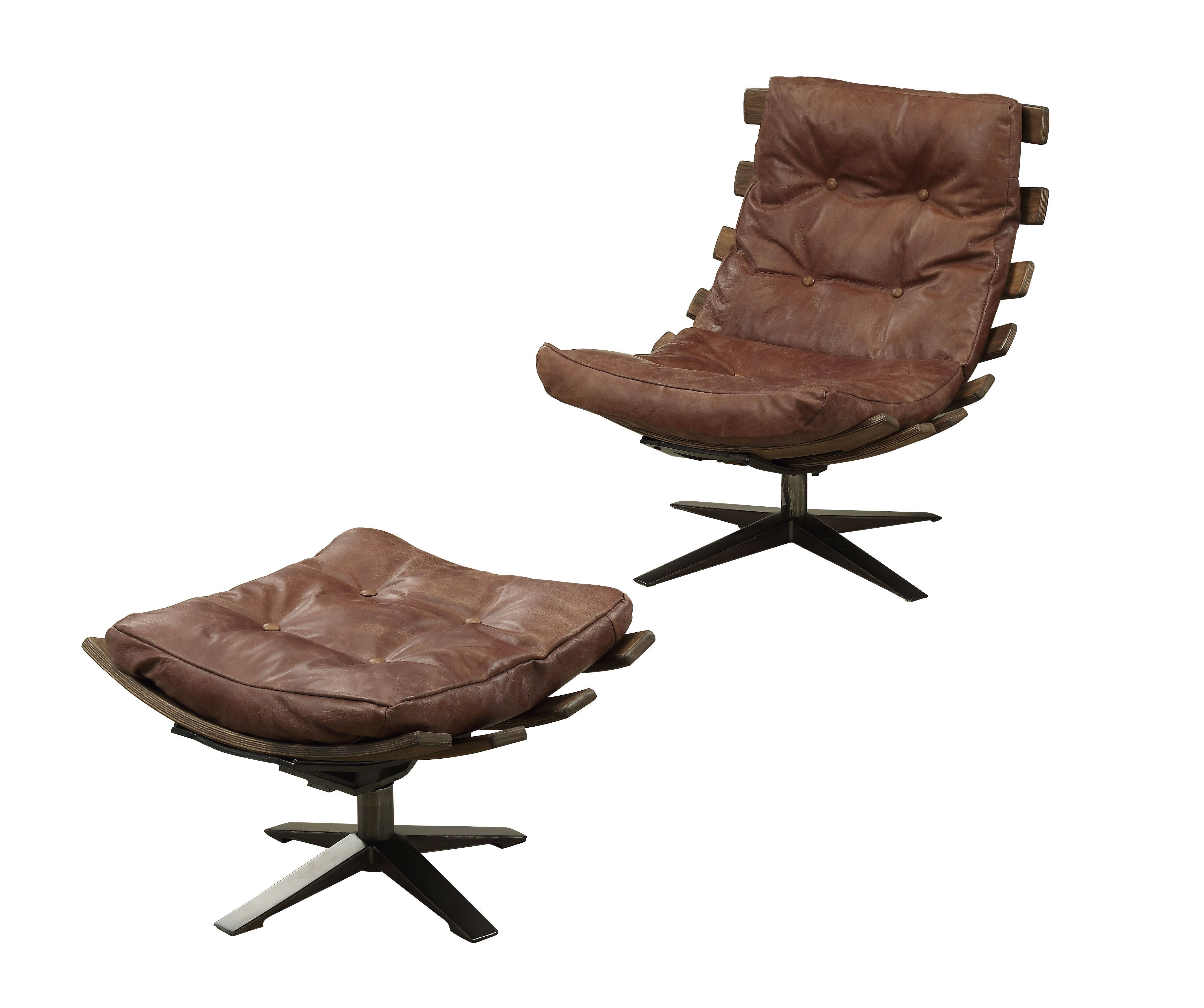Phenomenal Homeroots Retro Brown Leather Metal 2Pc Chair And Ottoman Set Gmtry Best Dining Table And Chair Ideas Images Gmtryco