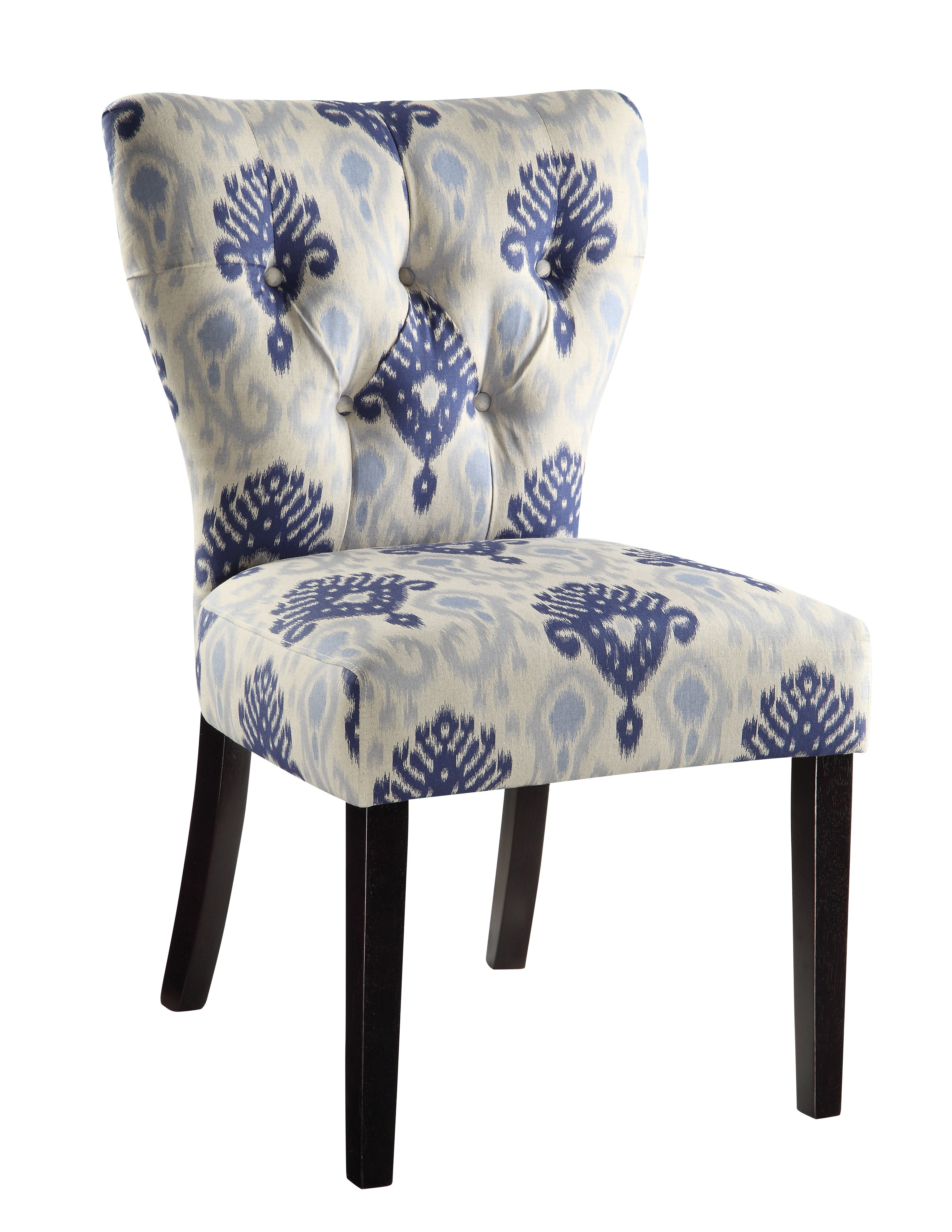 Andrew Blossom Blue Tufted Back Fabric Solid Wood Parson