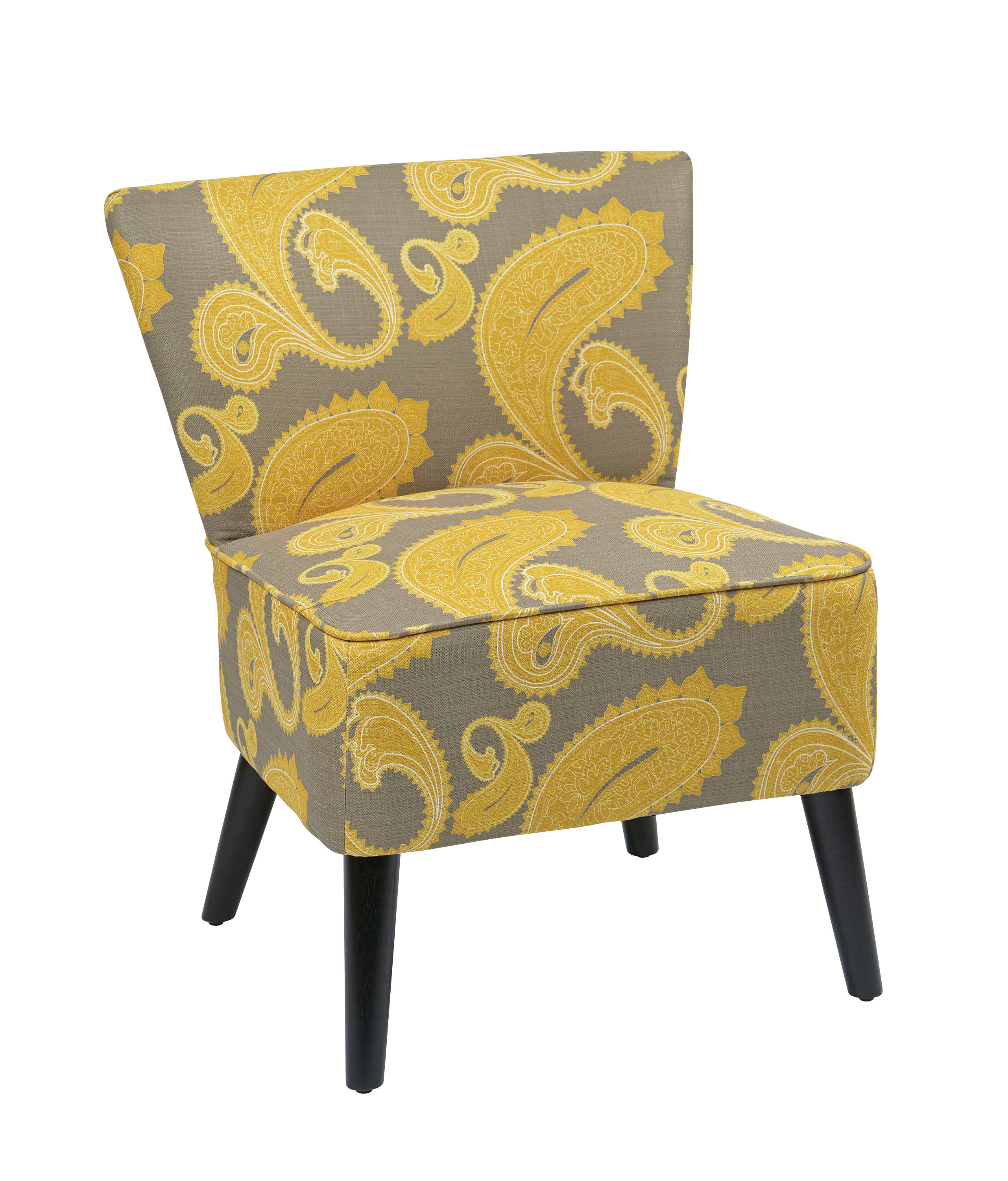Apollo Contemporary Grey Yellow Fabric Wood Armless Chair