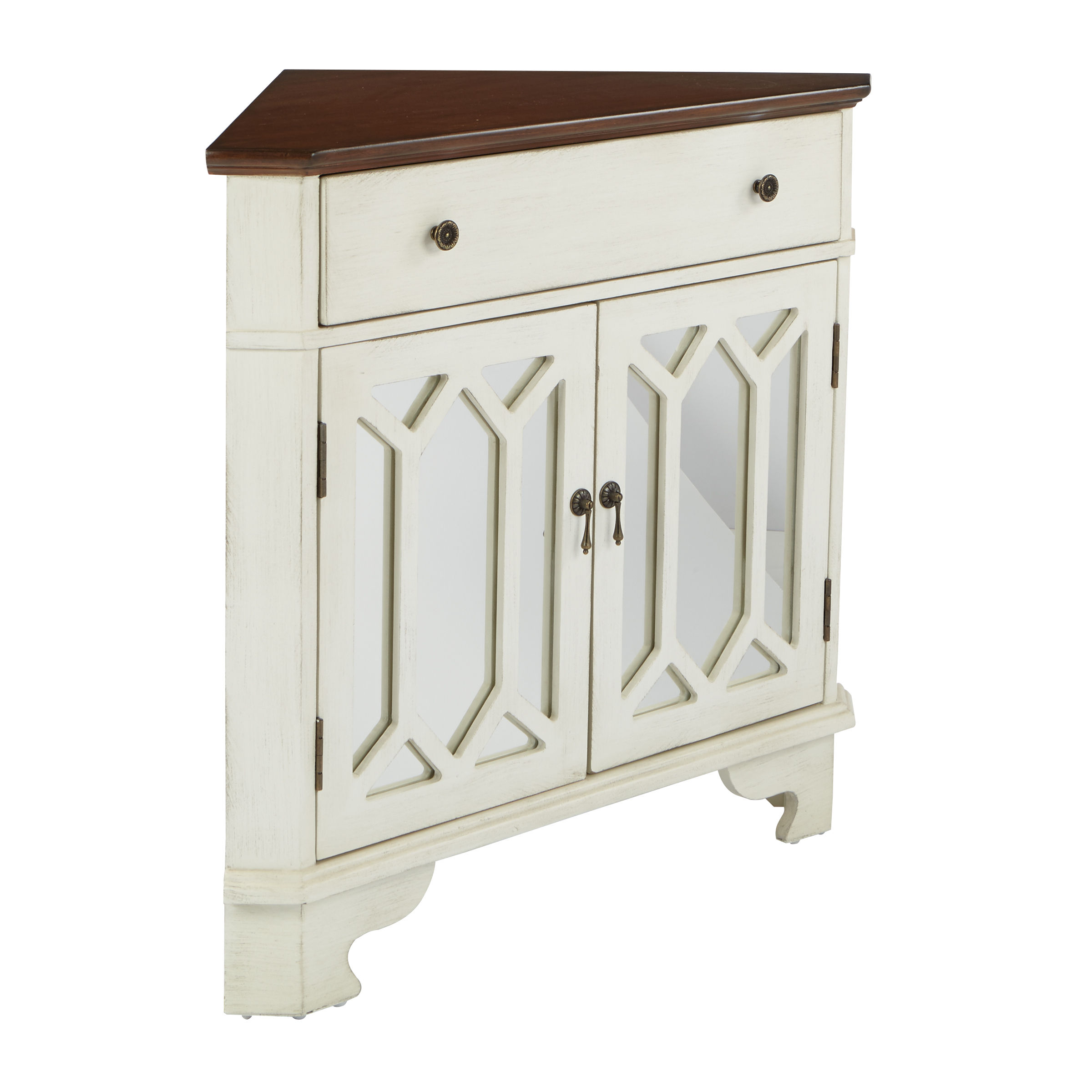 Carlton Traditional Antique Beige Corner Storage Console Click To Enlarge  ...