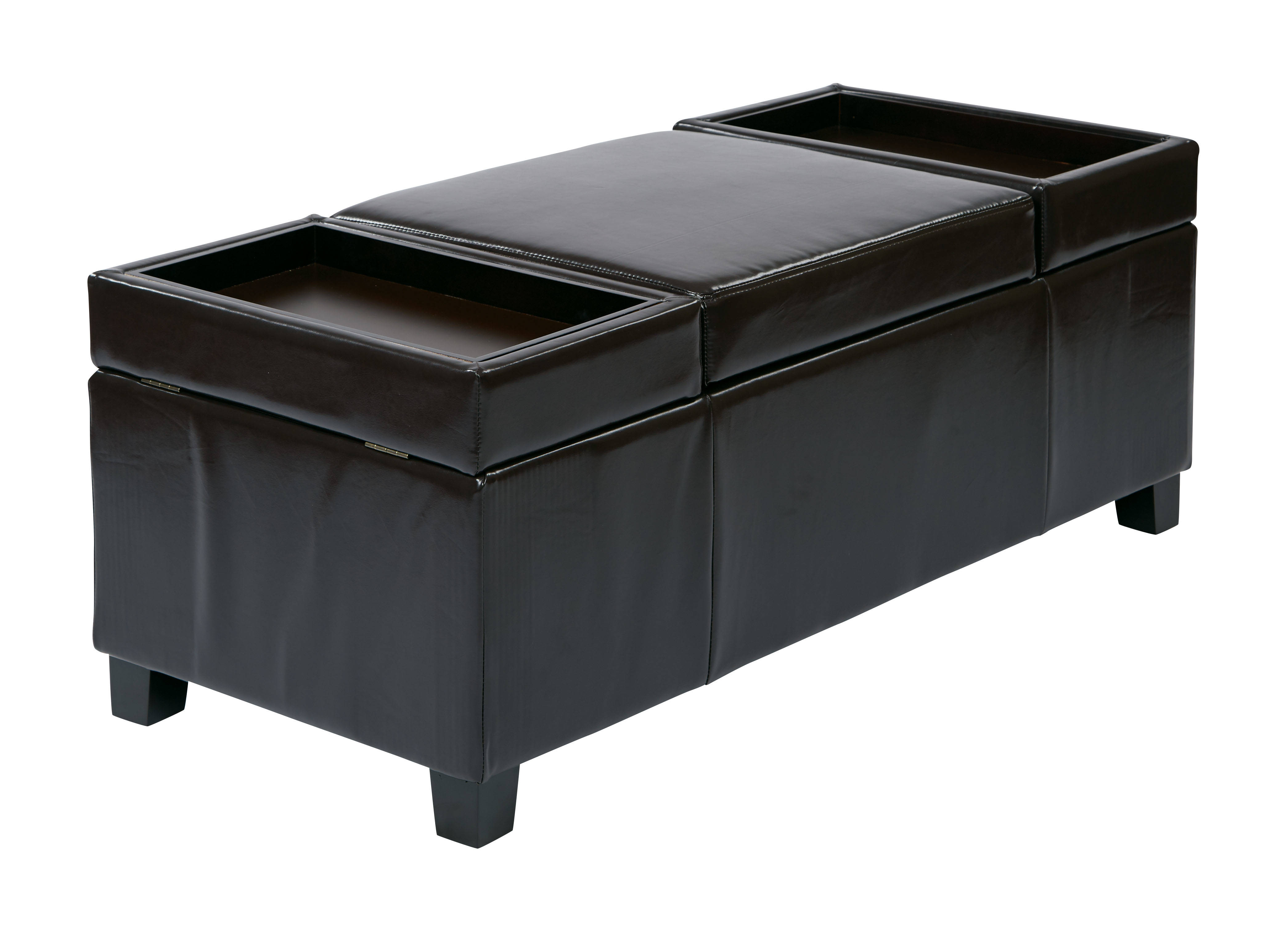Cool Geneva Transitional Espresso Bonded Leather Storage Ottoman Pdpeps Interior Chair Design Pdpepsorg