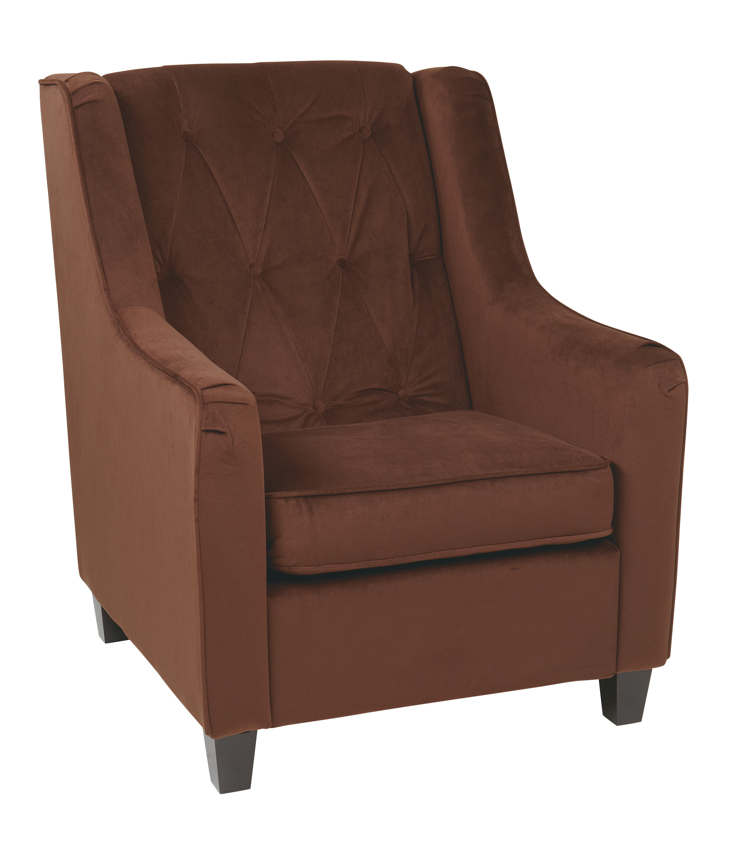 Curves Modern Chocolate Fabric Solid Wood Tufted Back