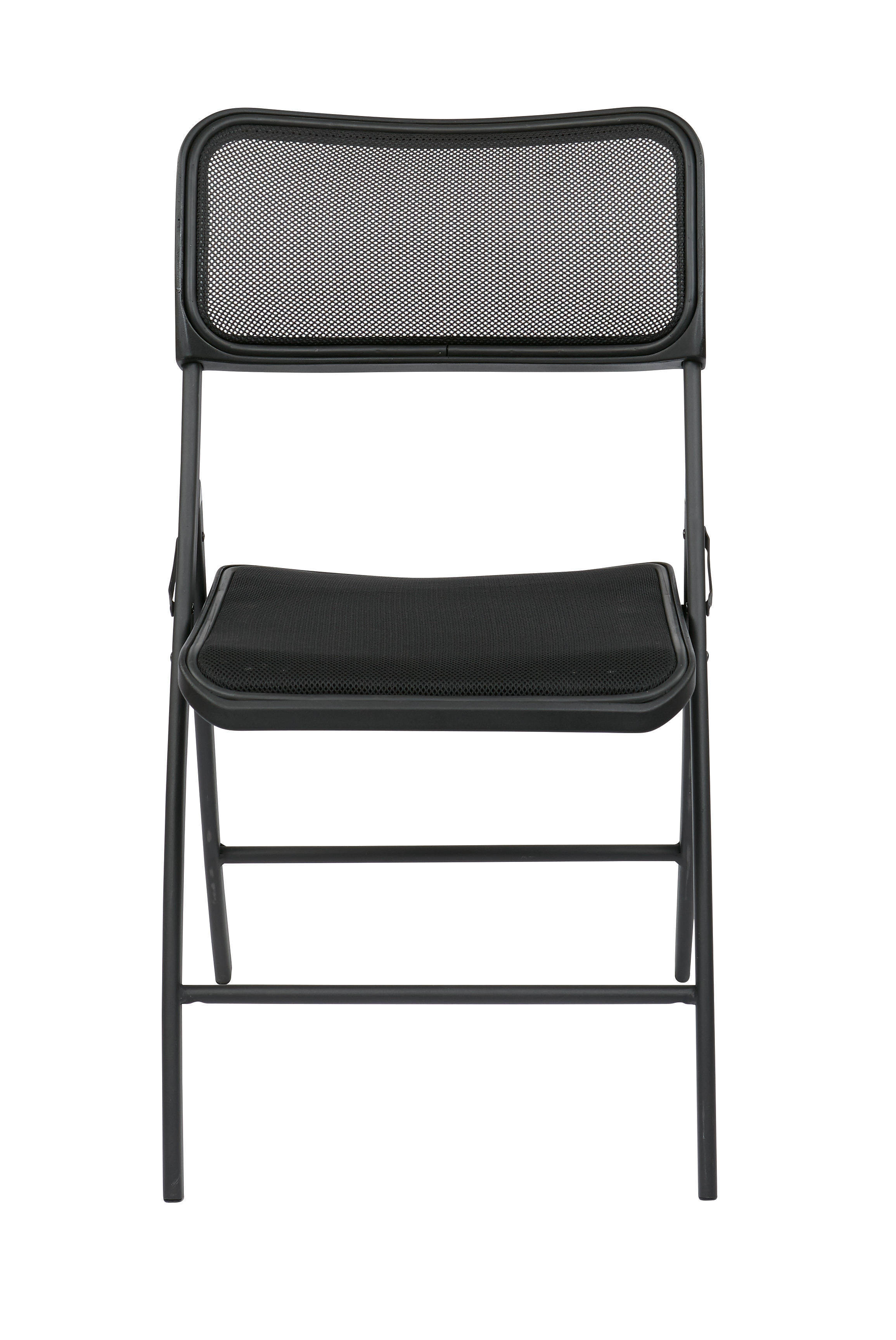 2 ff series black breathable screen seat back folding chairs the classy home. Black Bedroom Furniture Sets. Home Design Ideas