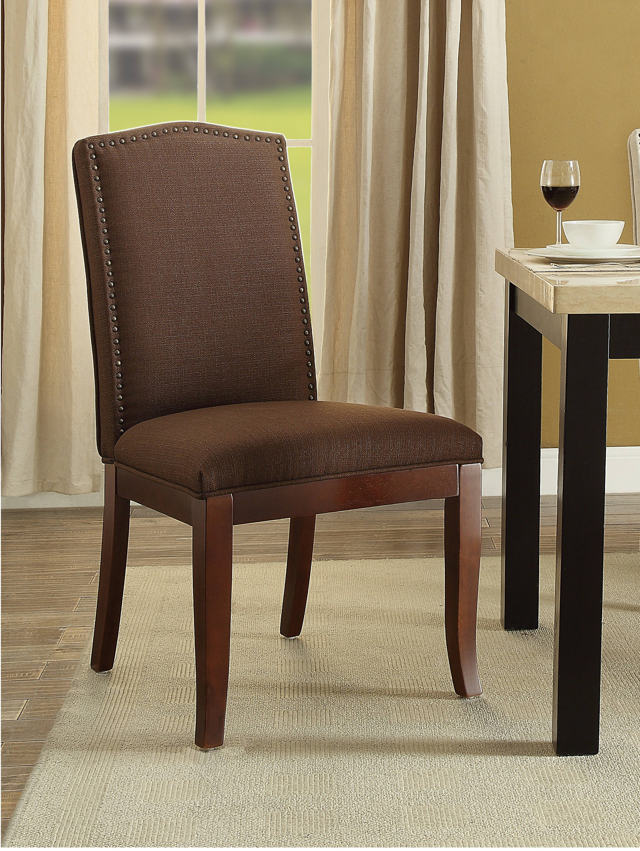Amazing Hanson Chocolate Fabric Espresso Wood Legs Nailhead Trim Gmtry Best Dining Table And Chair Ideas Images Gmtryco