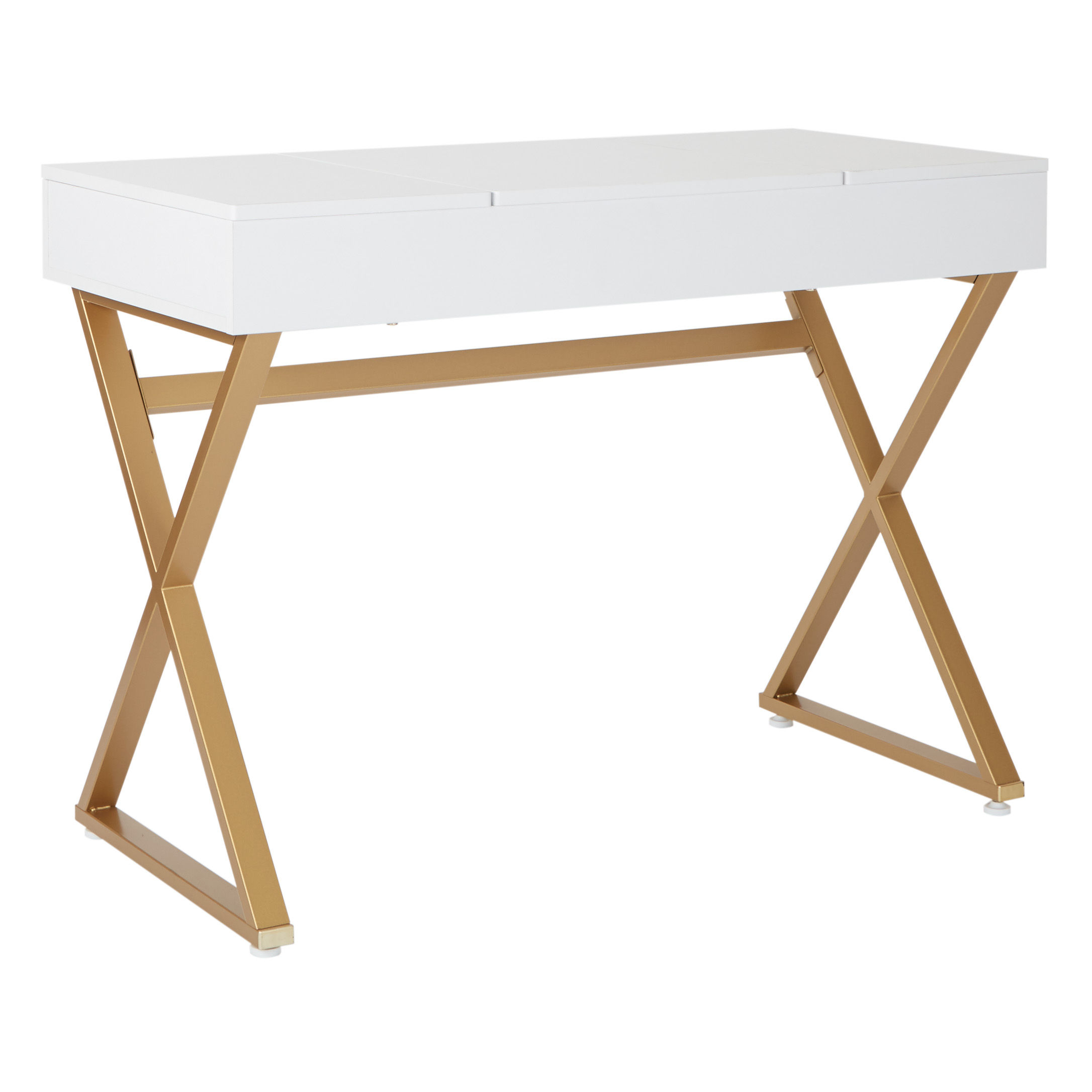 Juliette White Top Gold Legs Wood Vanity Desk The Classy Home