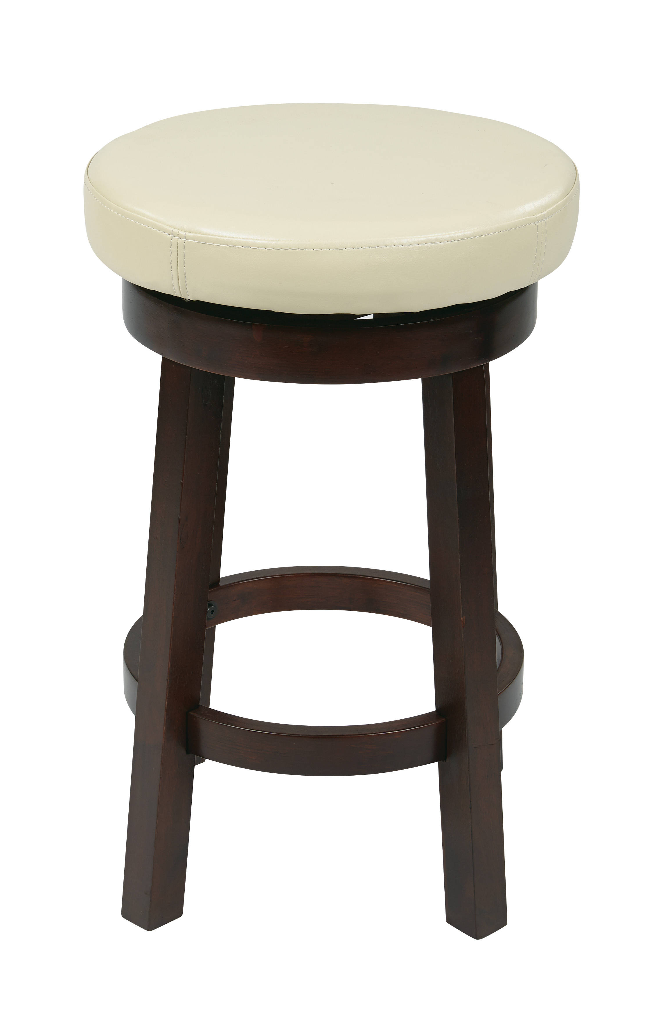 Metro Cream Espresso Faux Leather Wood 24 Inch Round Barstool : Kitchen, Dining u0026 Bars : The ...