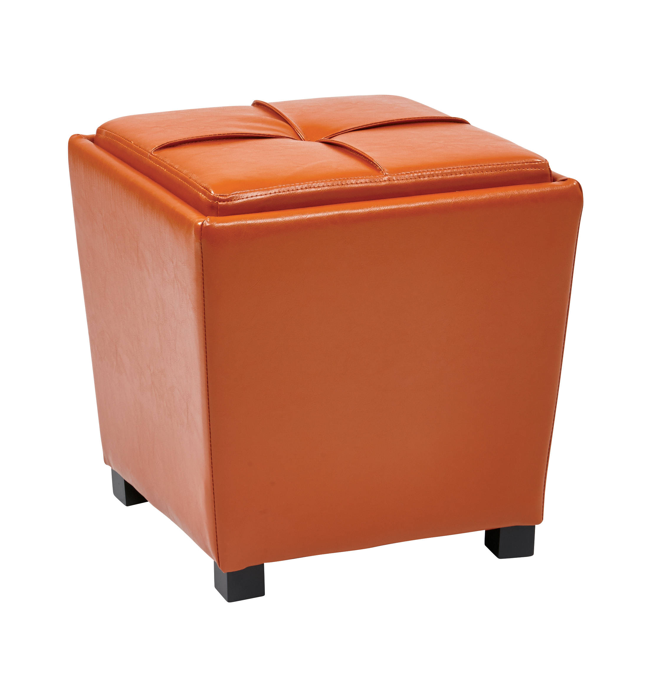 Peachy Metro Orange Vinyl Wood Tray Top 2Pc Storage Ottoman Set Andrewgaddart Wooden Chair Designs For Living Room Andrewgaddartcom