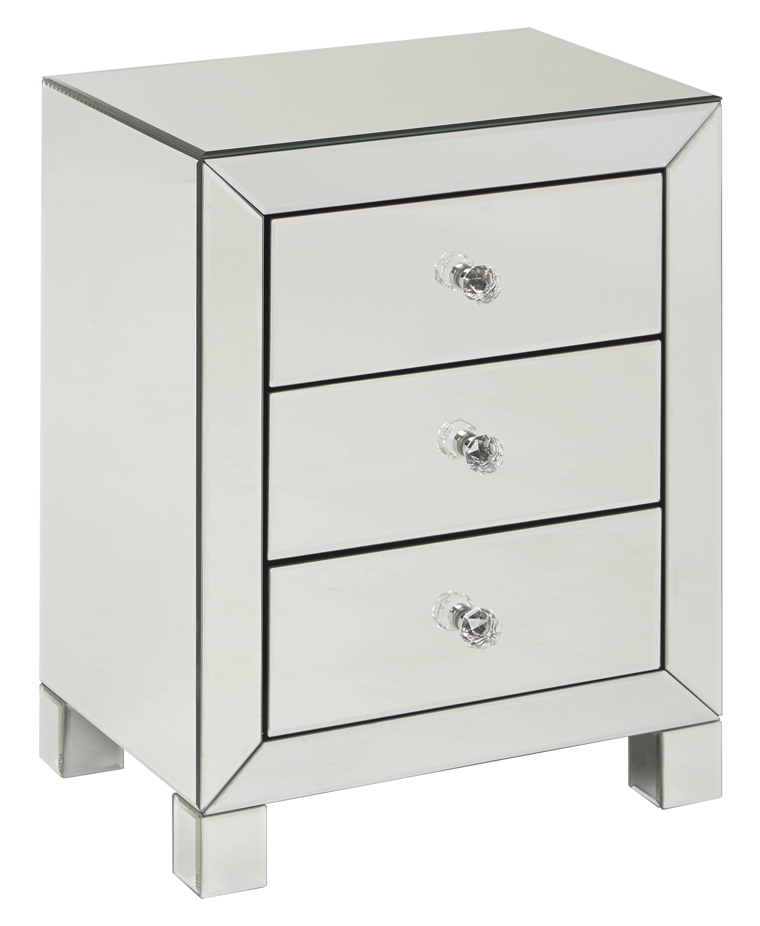 Reflections Silver Mirror 3 Drawer Accent Table The
