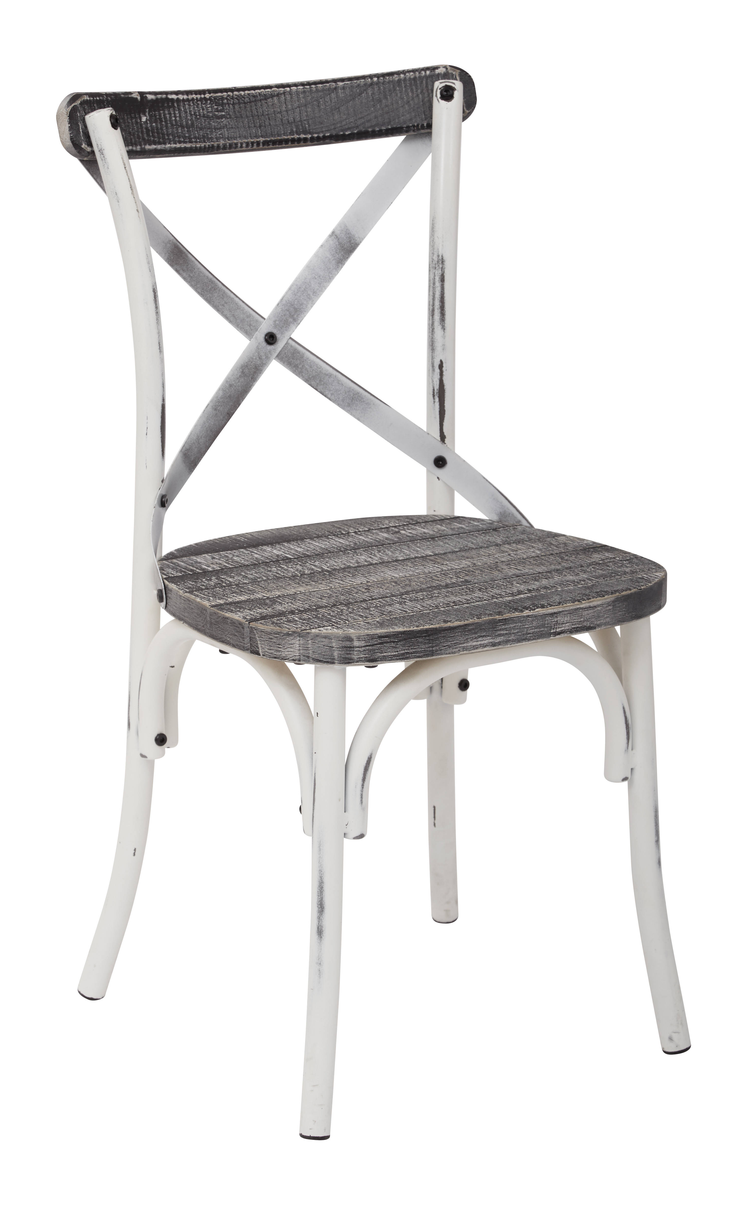 Somerset Traditional Antique White Crazy Horse Wood Metal X Back Chair  Click To Enlarge ...