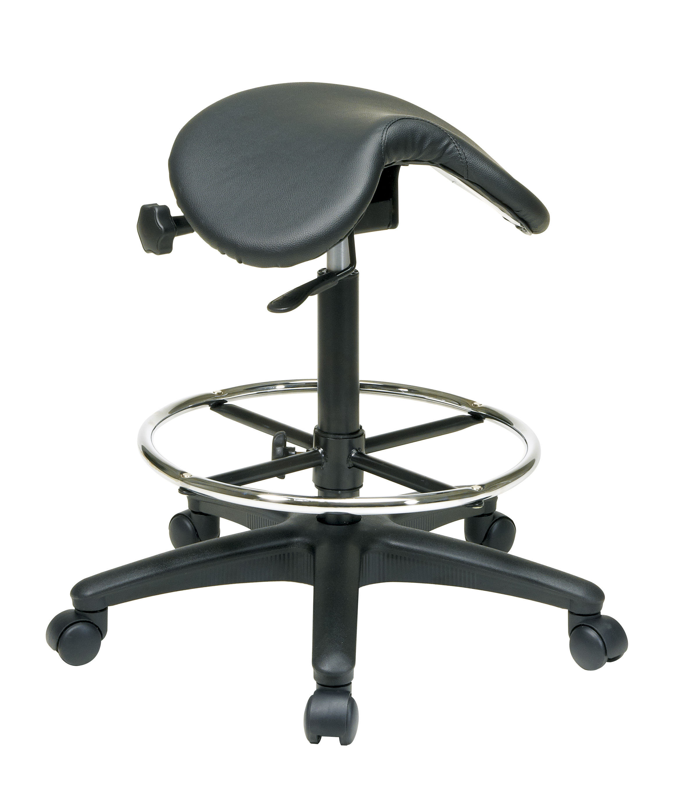 Black Vinyl Nylon Backless Drafting Stool W Saddle Seat