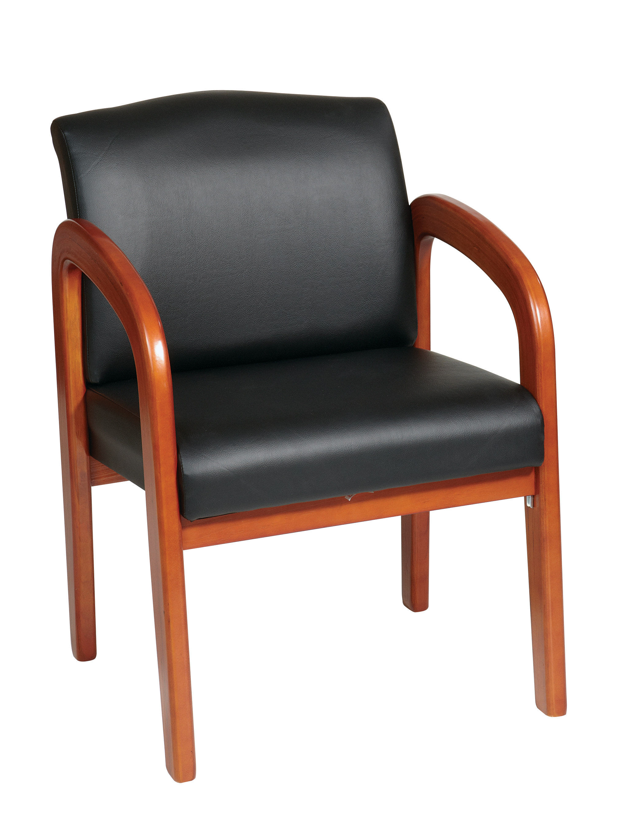 Wd Collection Oak Wood Black Faux Leather Visitor Chair