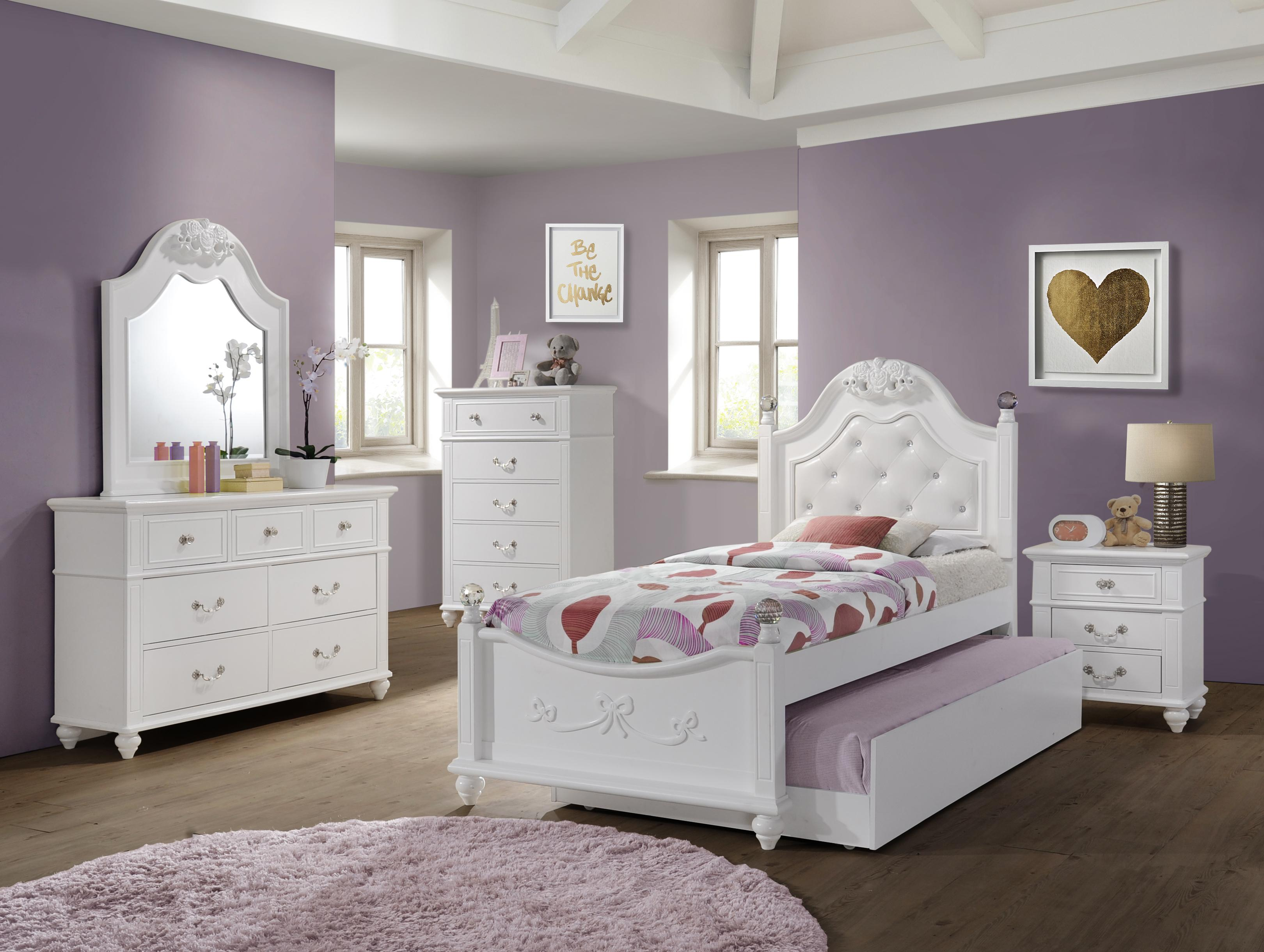 Picket House Annie White 5pc Bedroom Set with Storage Trundle Twin Platform  Bed