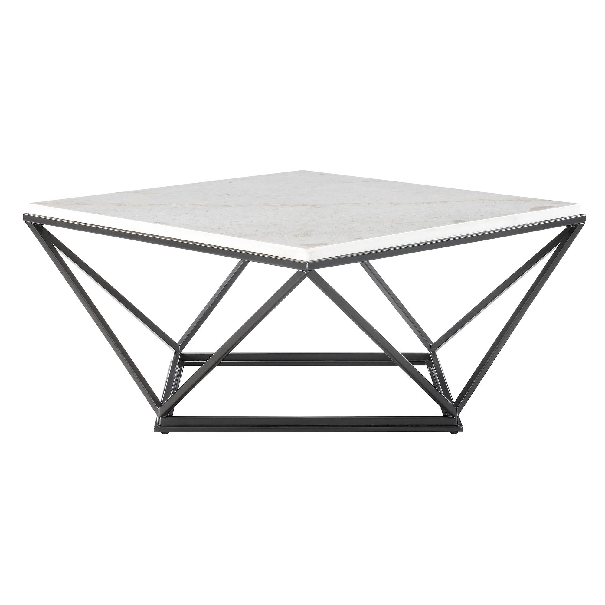 Picket House Conner Black Marble Top Square Coffee Table