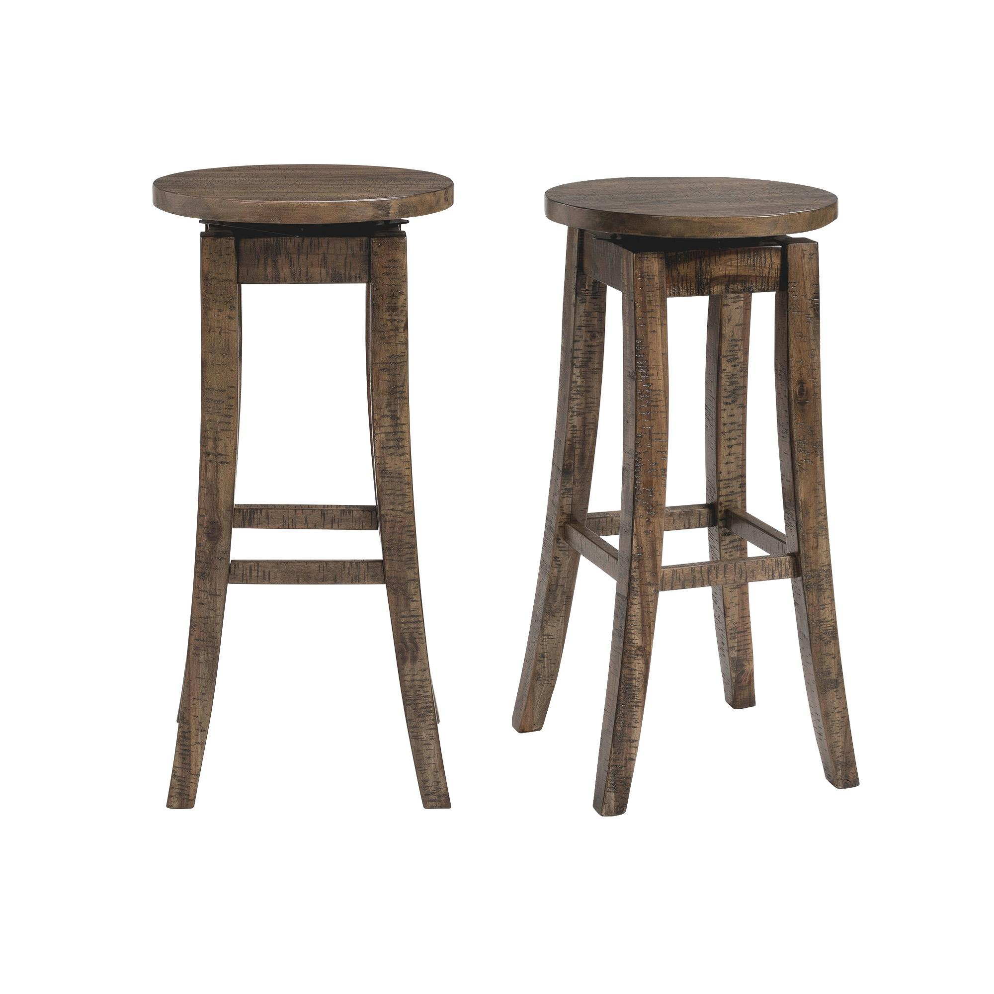 2 Picket House Flynn Dark Walnut 30 Inch Swivel Bar Stools The