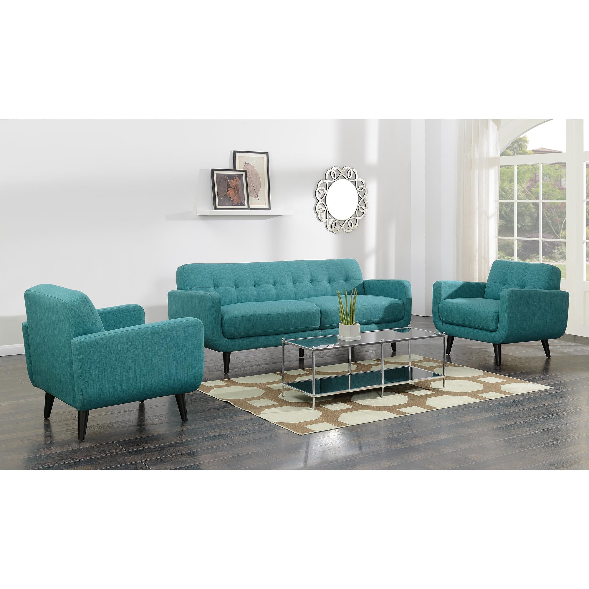 Picket House Hailey Teal Fabric Sofa And Chair Set The Classy Home