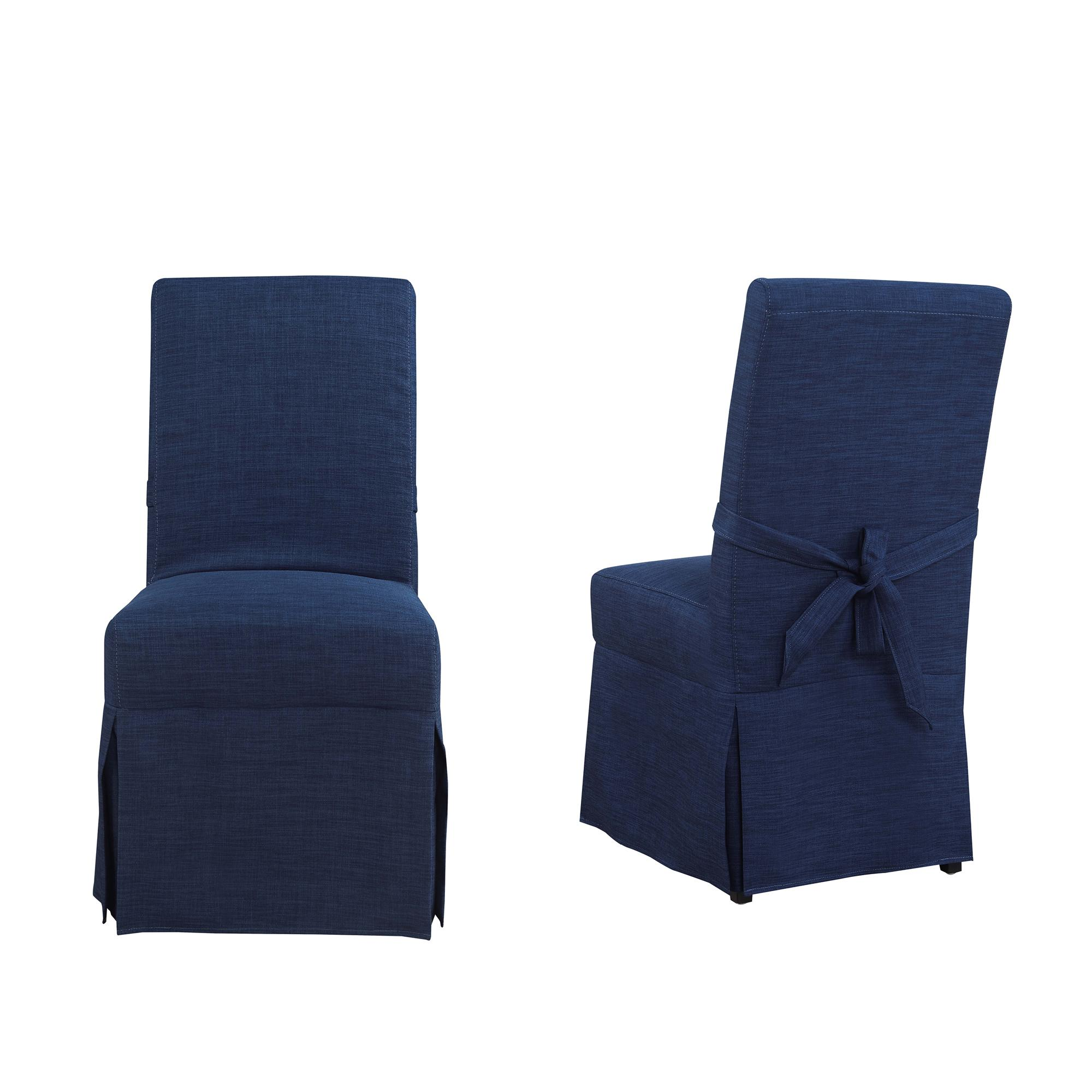 2 Picket House Margo Blue Fabric Parsons Dining Chairs