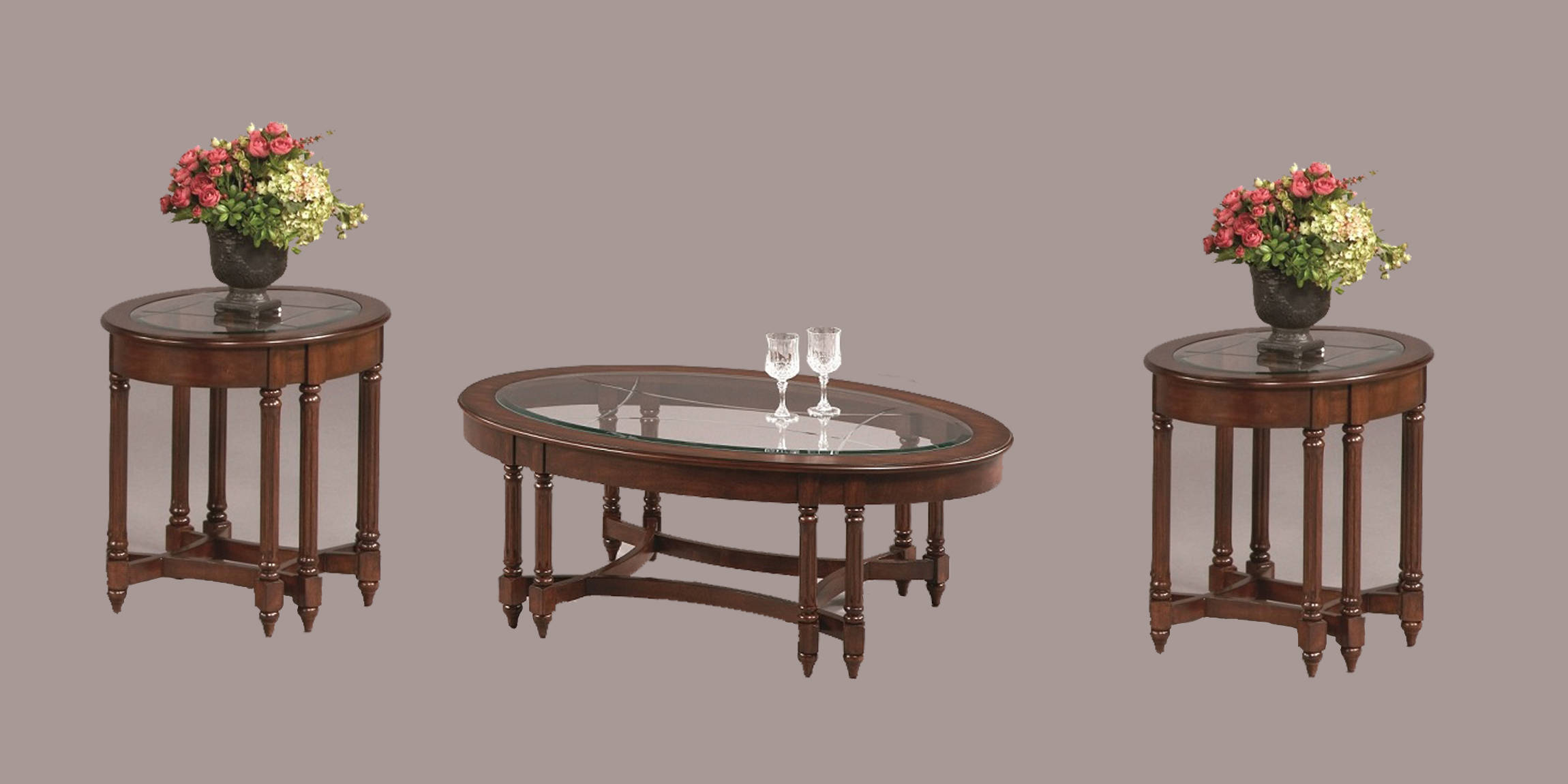 Canton Heights Traditional Berry Rubberwood Glass 3pc Coffee Table Set The Classy Home