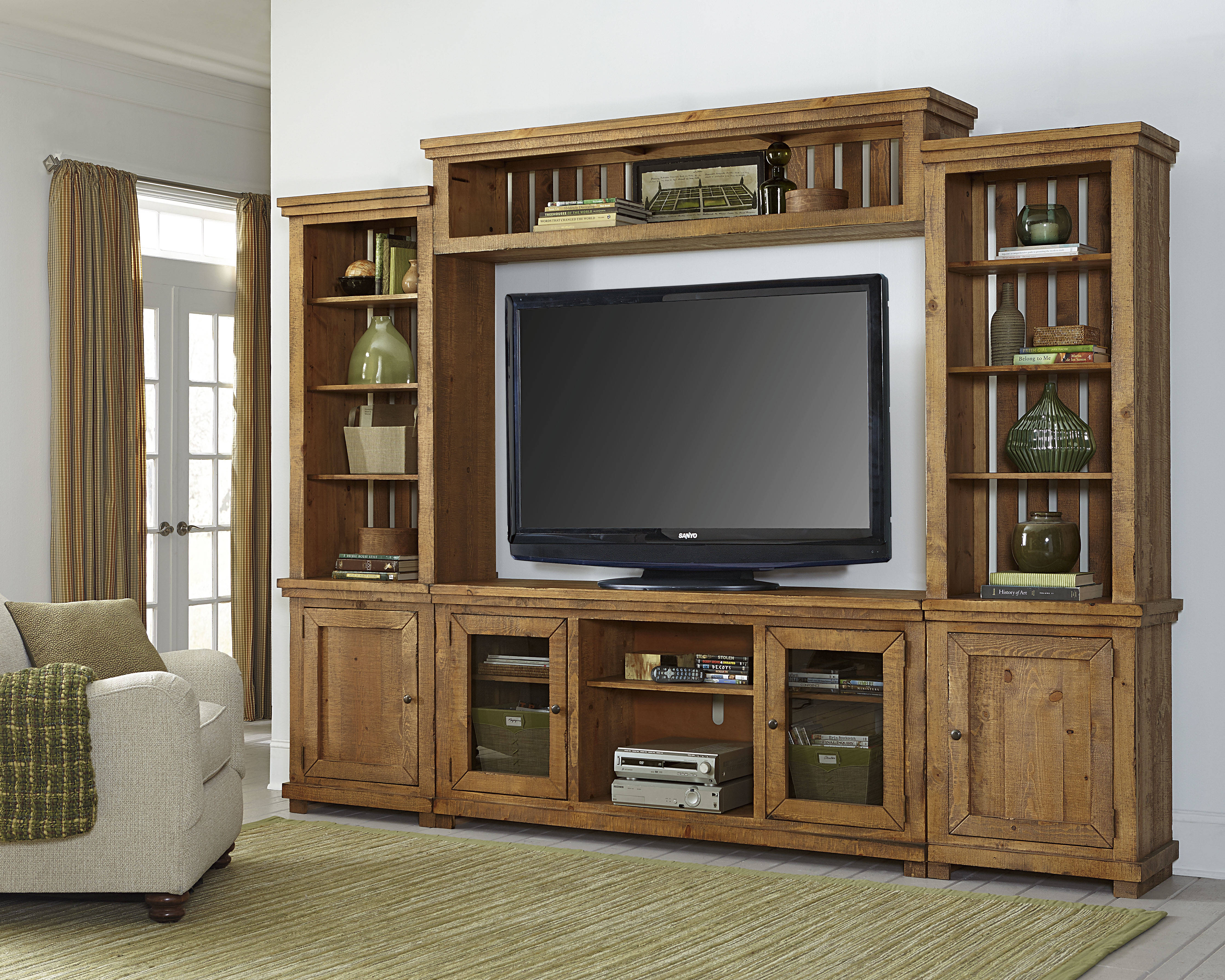Progressive Furniture Willow Distressed Pine Wall Unit With Tv Stand Click To Enlarge